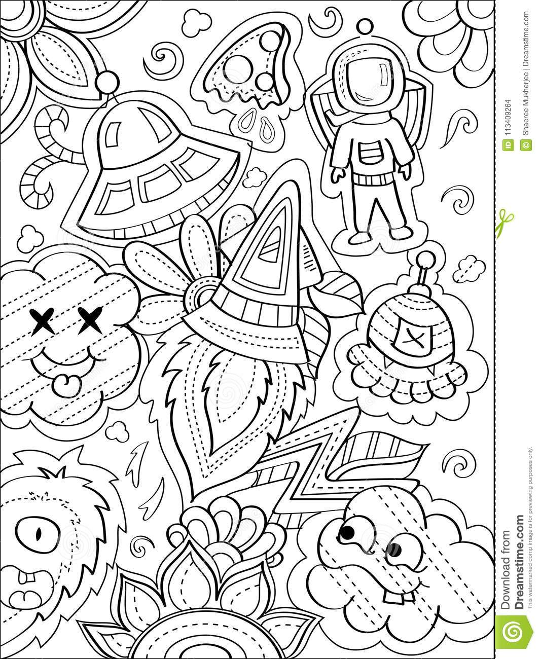 Space Doodle Coloring Page Stock Vector Illustration Of