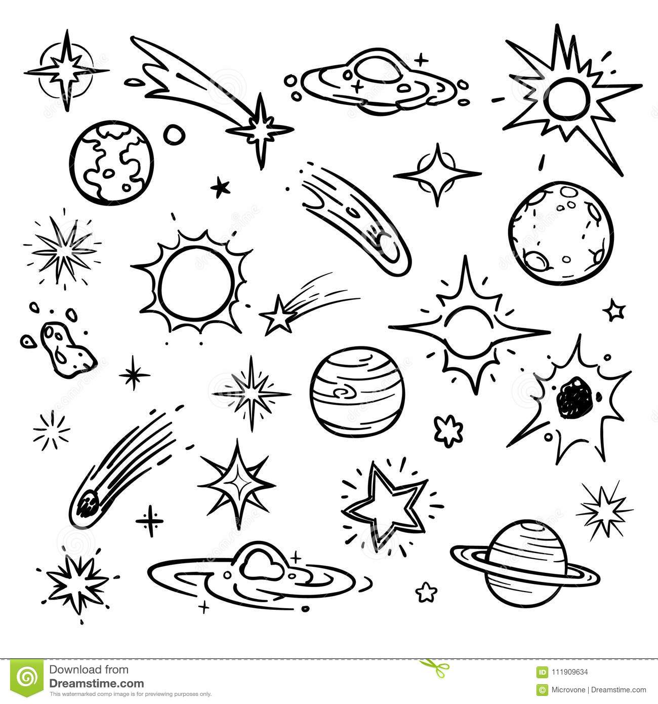 Space Doodle Vector Elements Hand Drawn Stars Comets