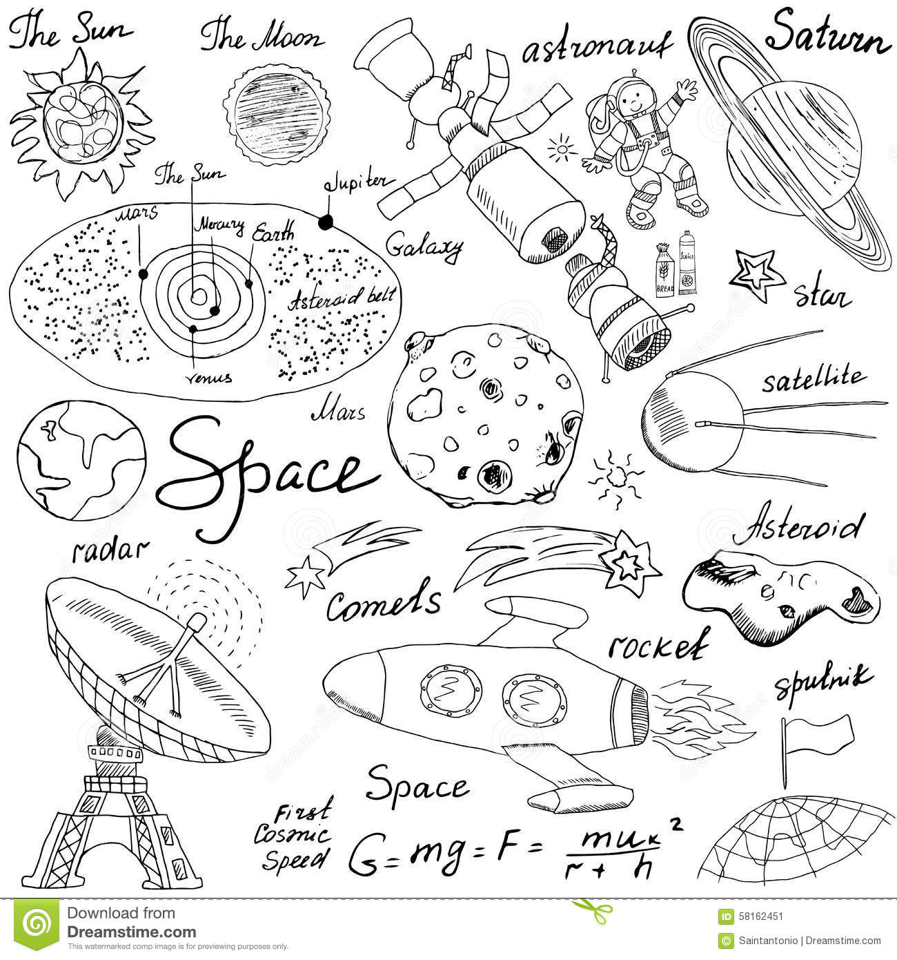Space Doodles Icons Set Hand Drawn Sketch With Solar
