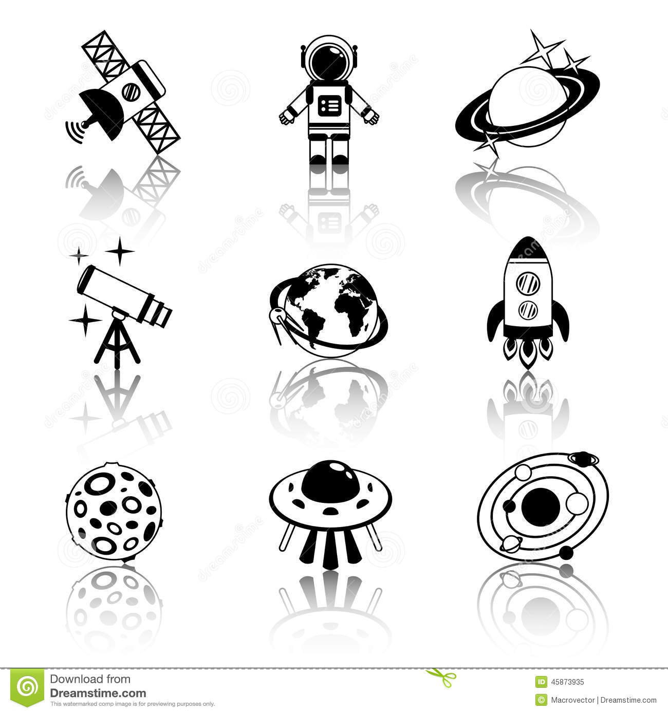 Space Icons Black And White Set Stock Vector