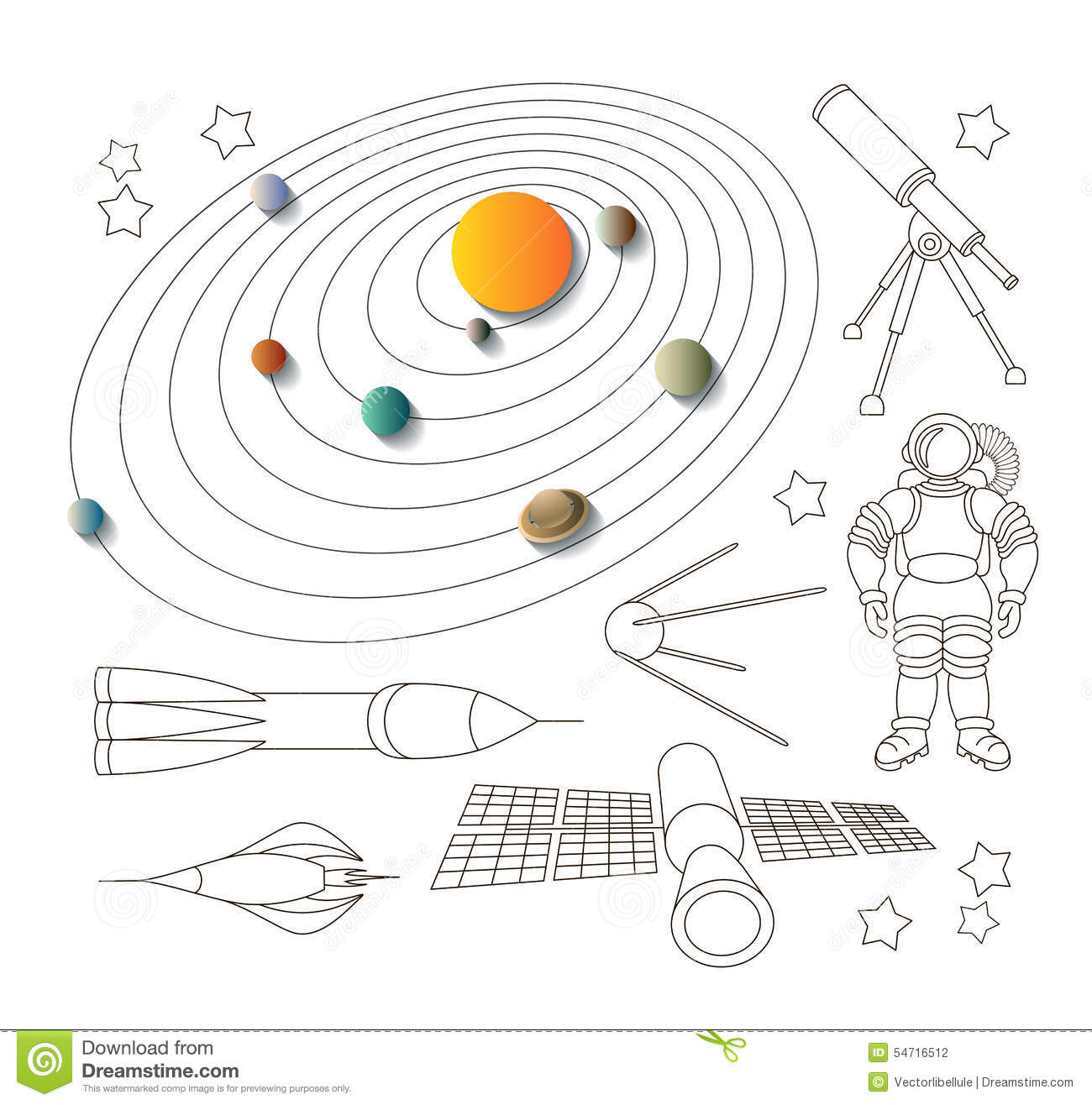 Space Icons And Solar System Stock Vector