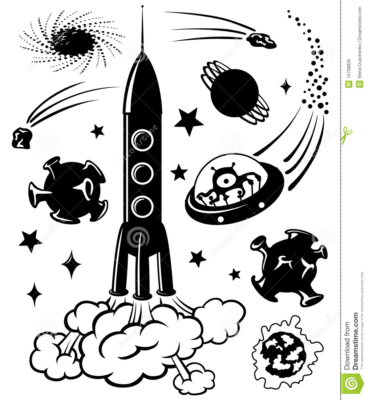 Space Silhouettes Royalty Free Stock Photo