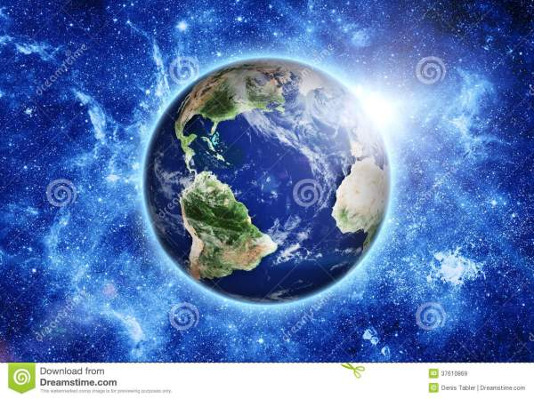 Space Station Over Blue Planet Earth In Space. Stock ...