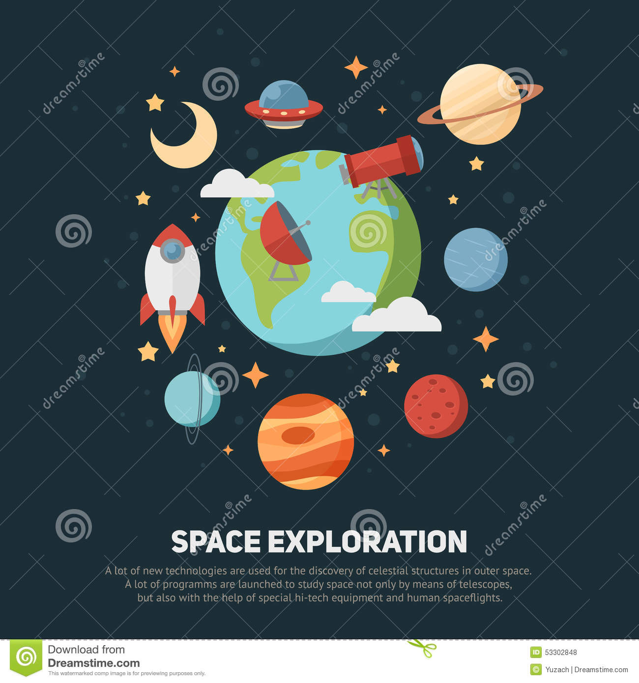 Space Theme Banners And Cards Stock Illustration