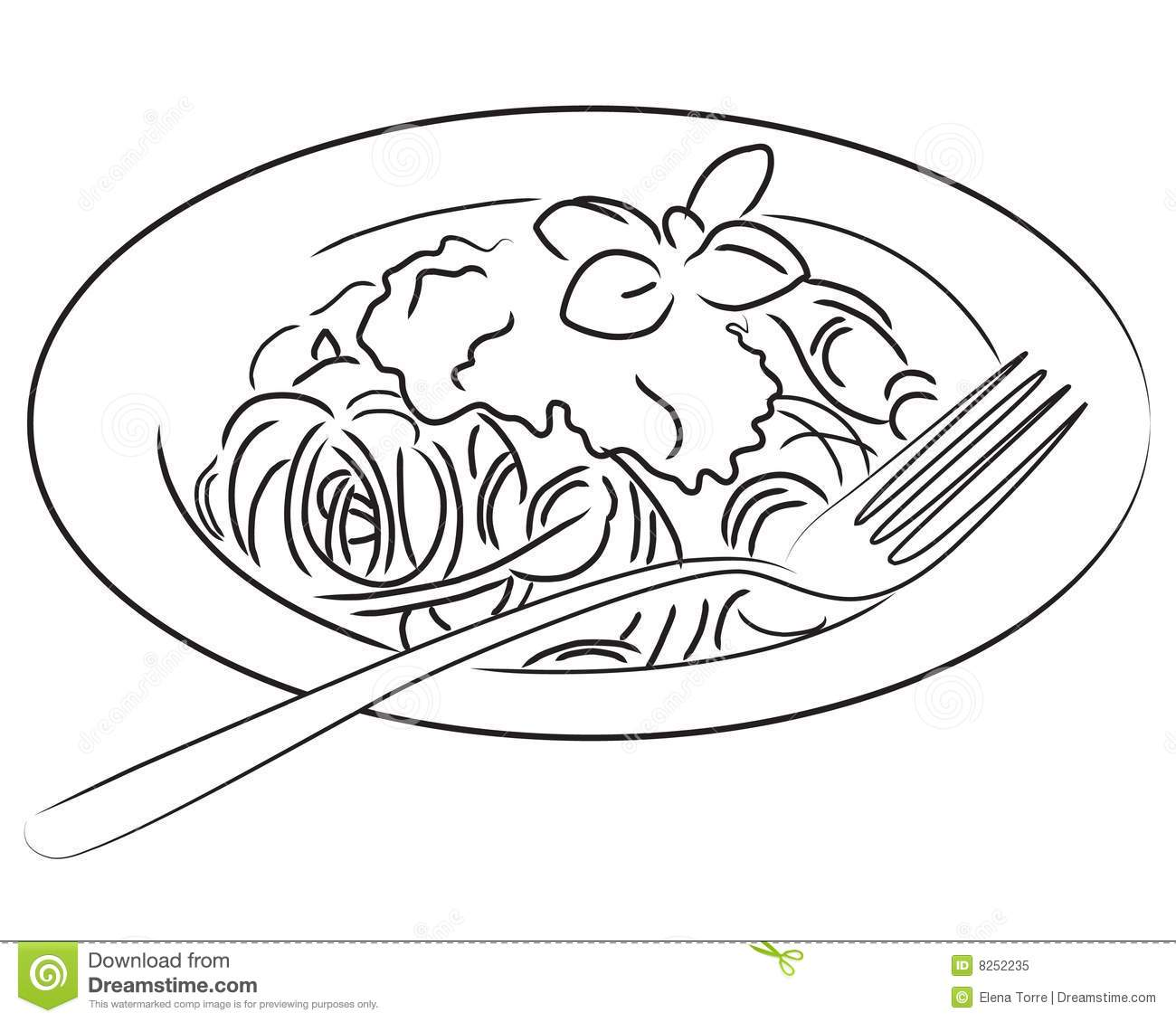 Spaghetti Stock Illustration Image Of Cuisine Contour