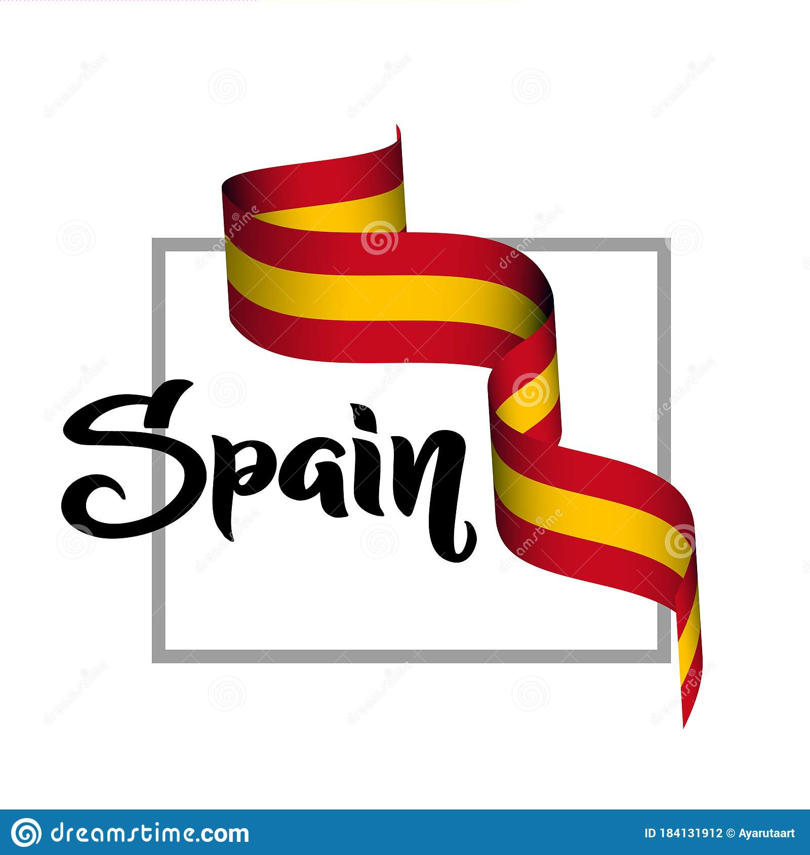 Spain 3d Ribbon Patriotic Poster With Waving Red And