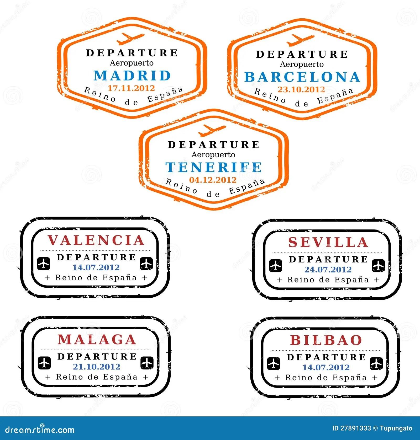 Spain Visa Stamps Stock Illustration Illustration Of