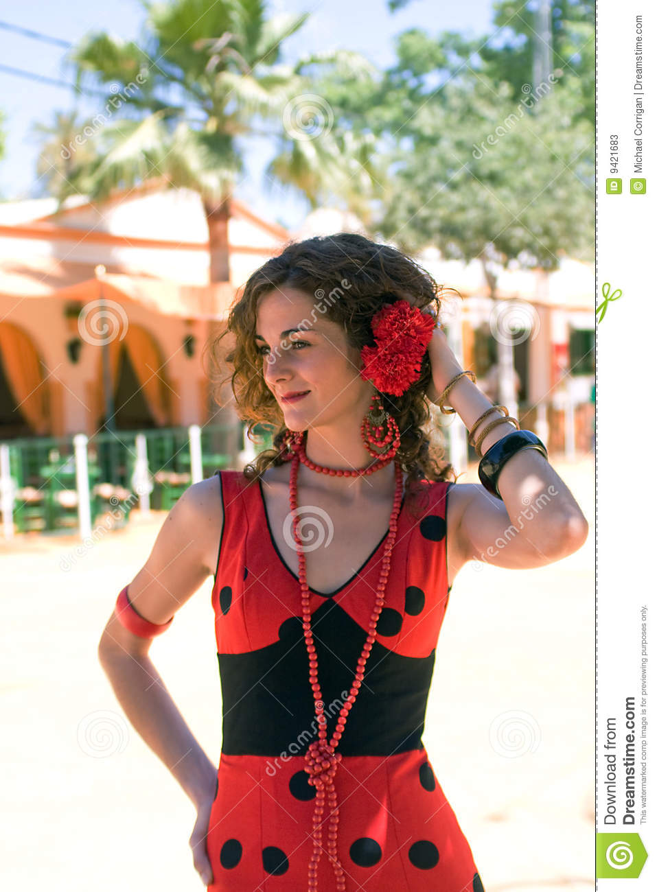 Spanish Girl In Red Flamenco Dress Stock Photos Image