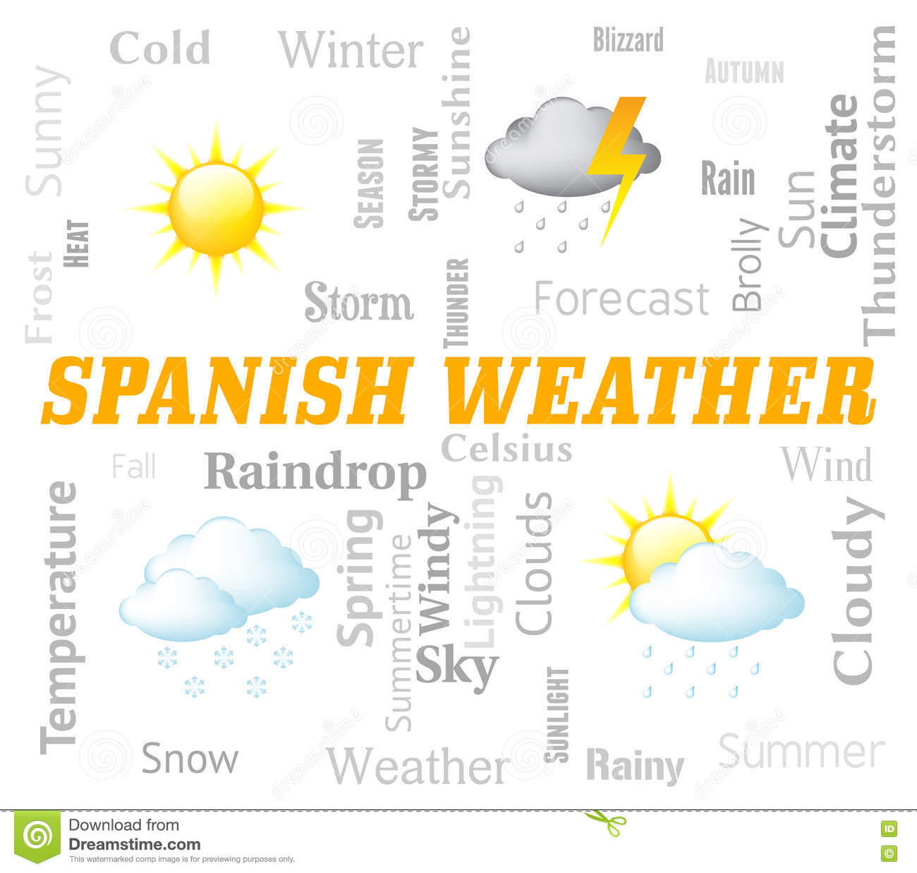 Spanish Weather Represents Meteorological Conditions And