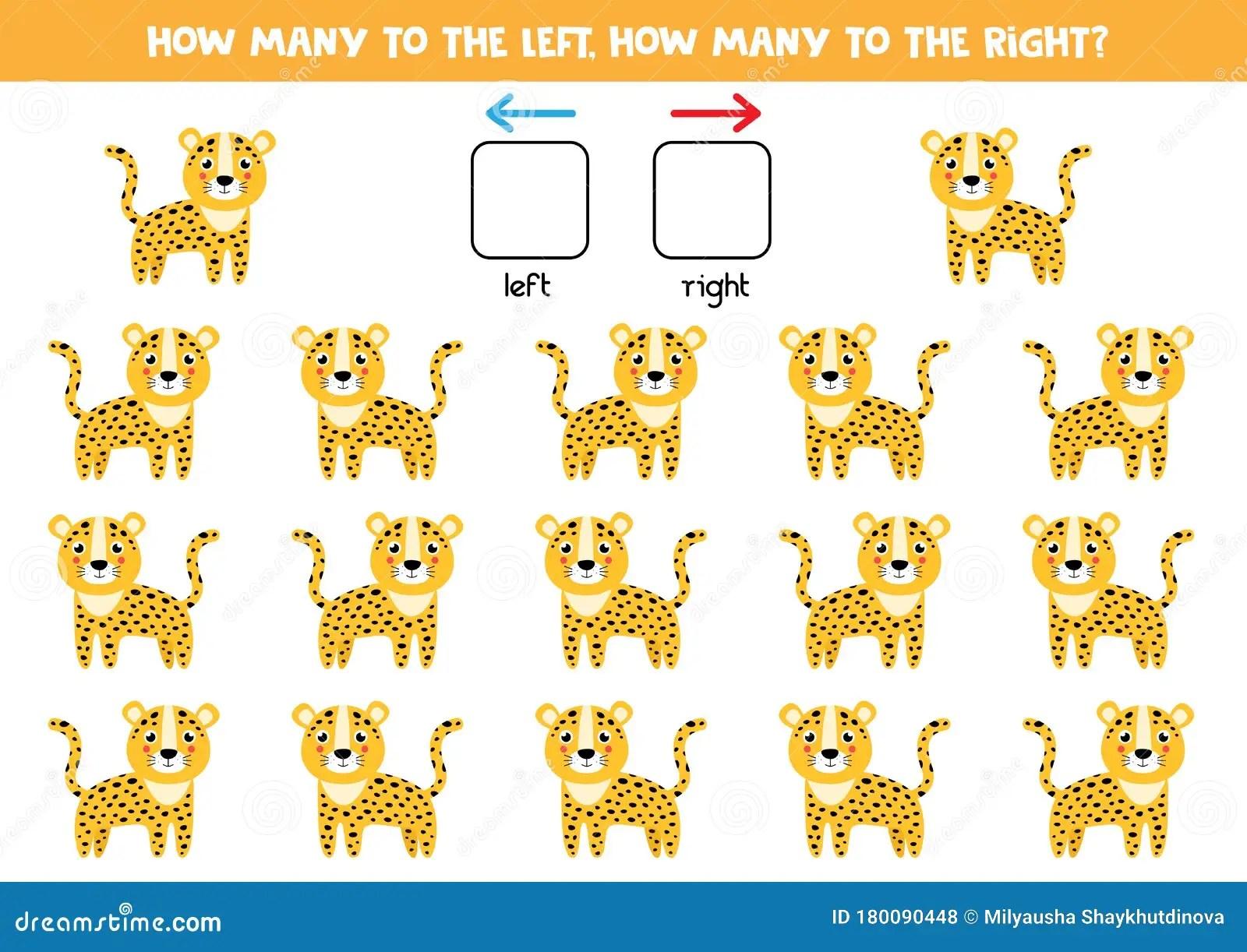 Spatial Orientation For Kids Cute Cartoon Leopard Stock