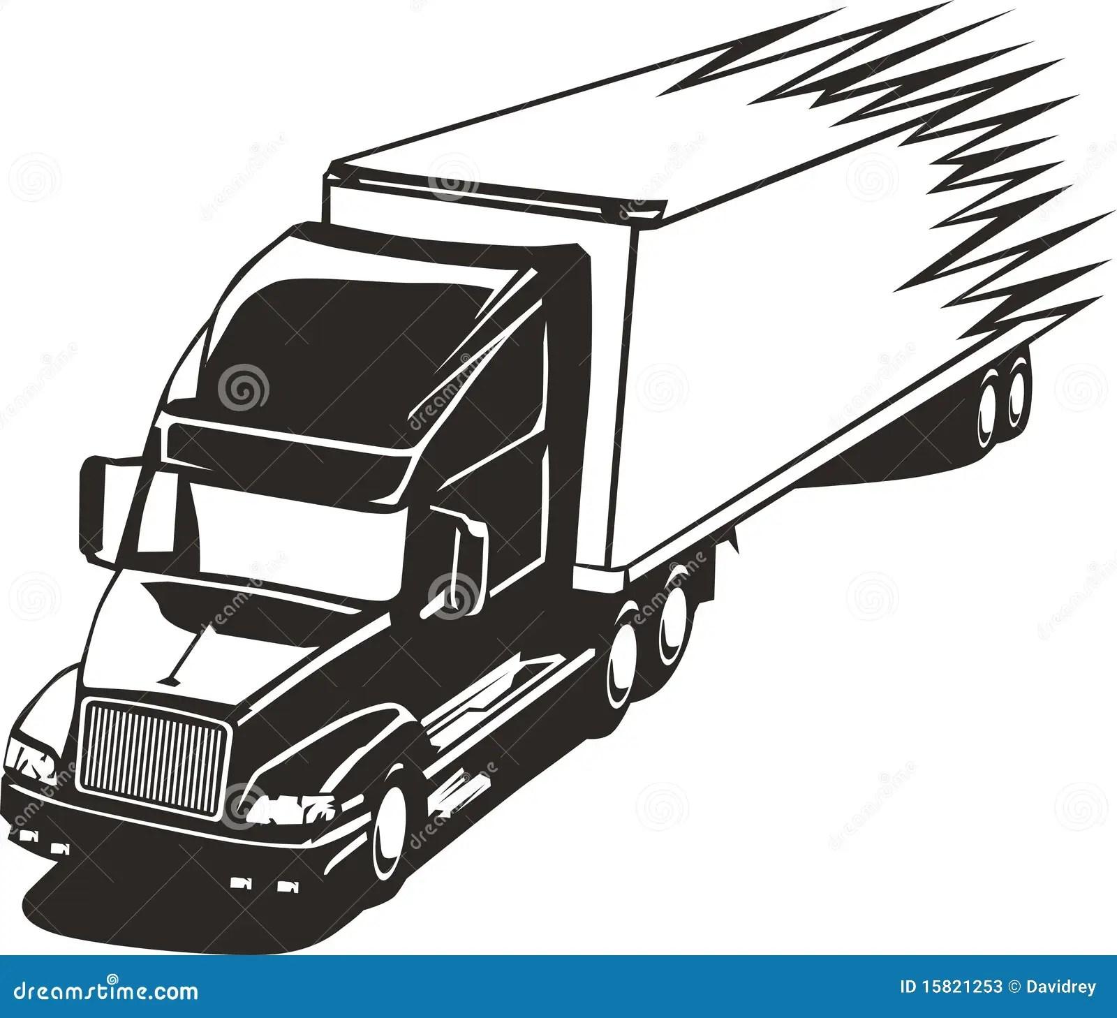 Speeding Big Rig Truck In The Highway Stock Vector