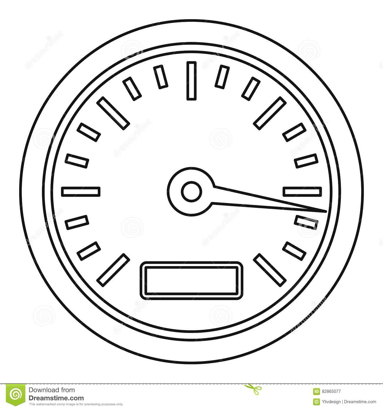 Speedometer Or Gauge Icon Outline Style Stock Vector