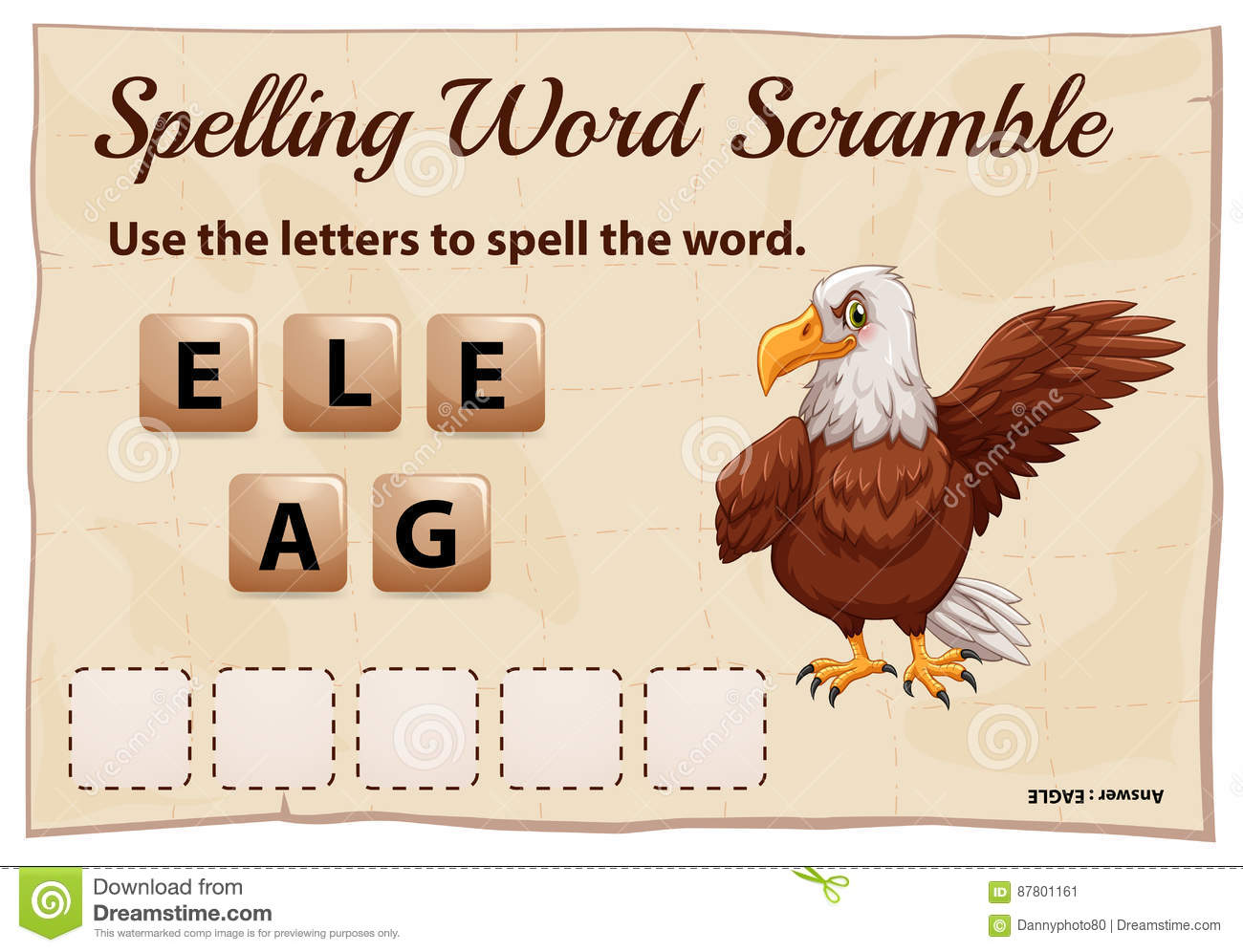 Spelling Word Scramble Game With Word Eagle Stock Vector