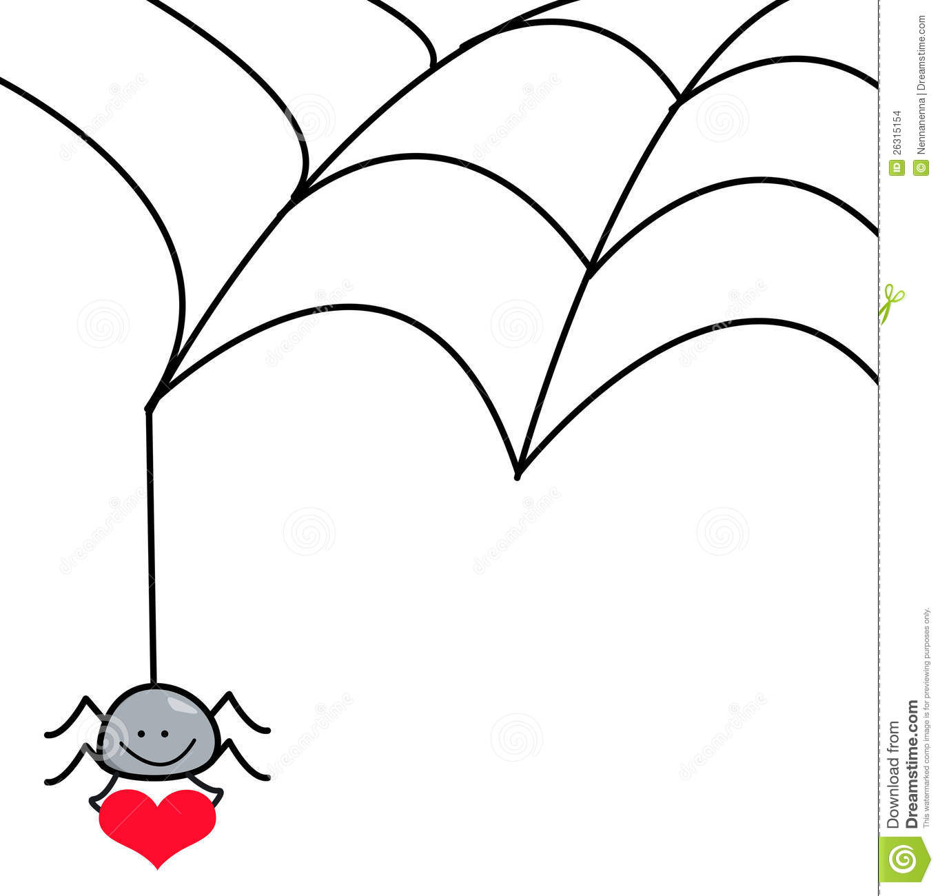 Spider Hanging From Spider Web Holding A Heart Stock