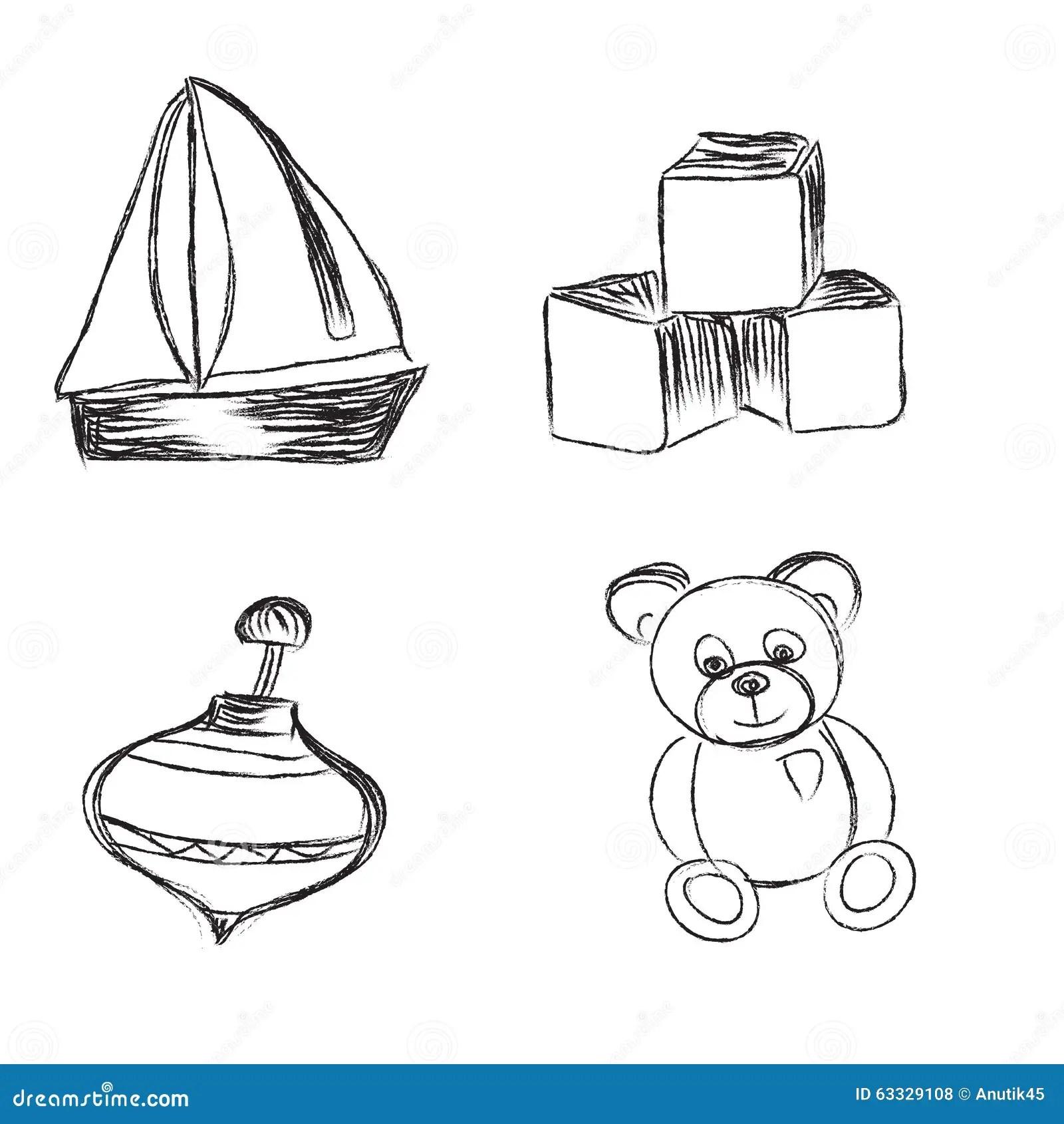 Spielwaren Ikonen Skizze Illustration Satz Clipart