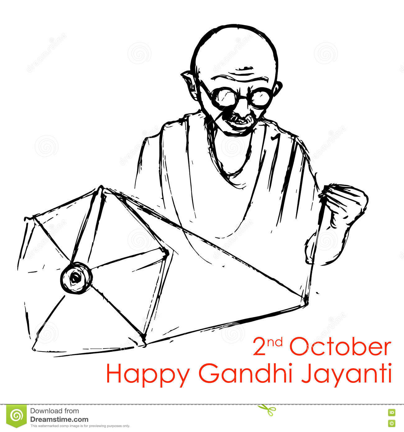 Spinning Wheel On India Background For Gandhi Jayanti