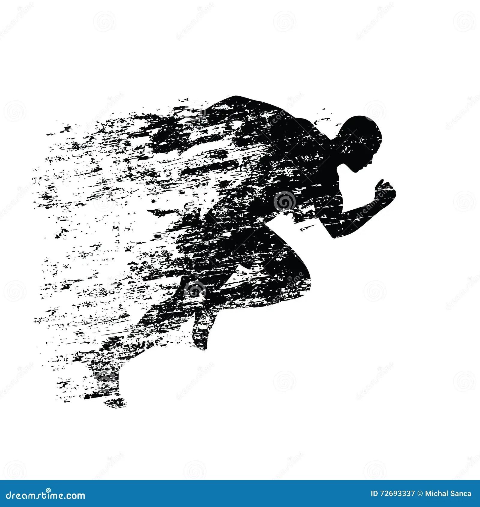 Splash Runner Silhouette Ink Running Man Stock Vector