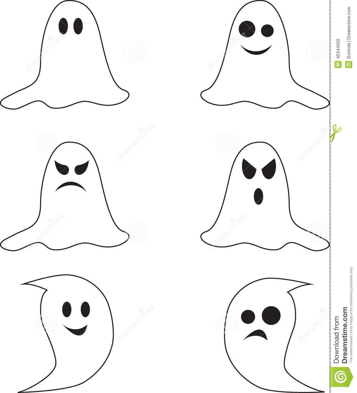 Spooky Black And White Ghost Illustrations Stock