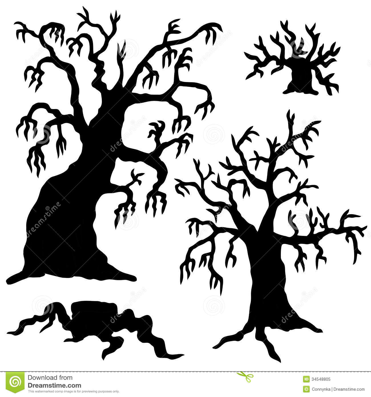 Spooky Trees Silhouette Collection Royalty Free Stock