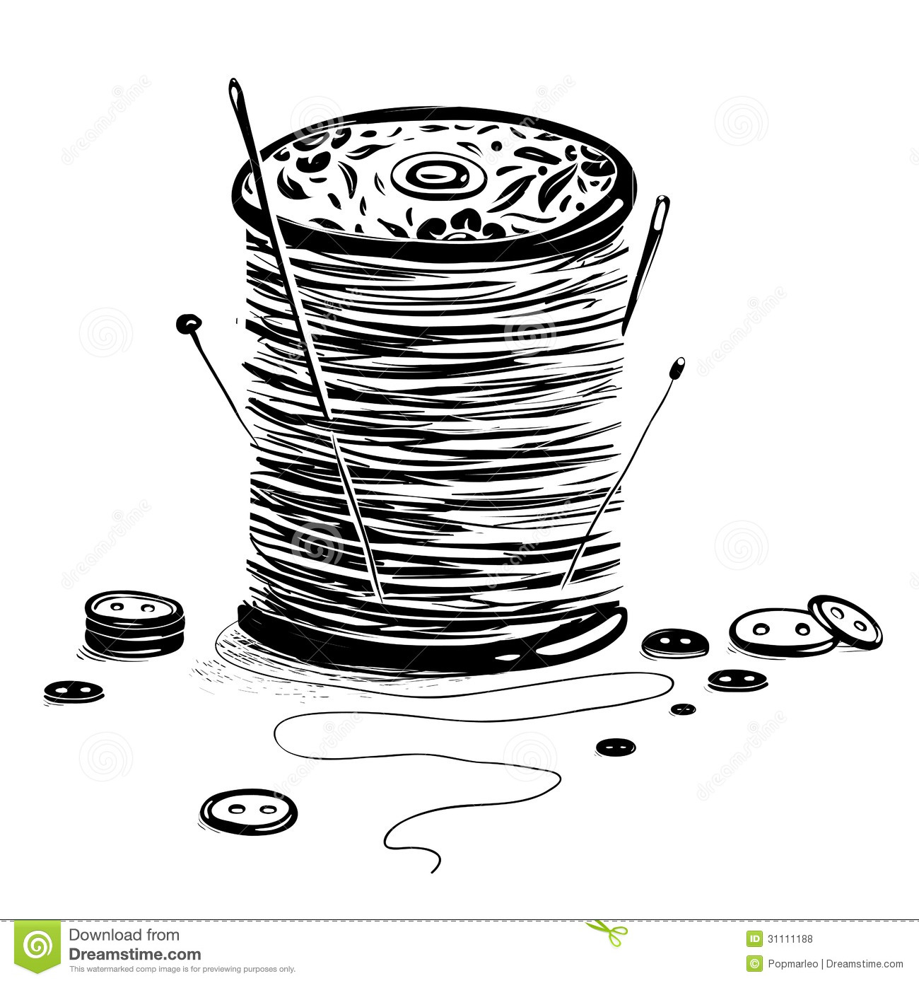 Spool Of Thread With Needles And Buttons Royalty Free