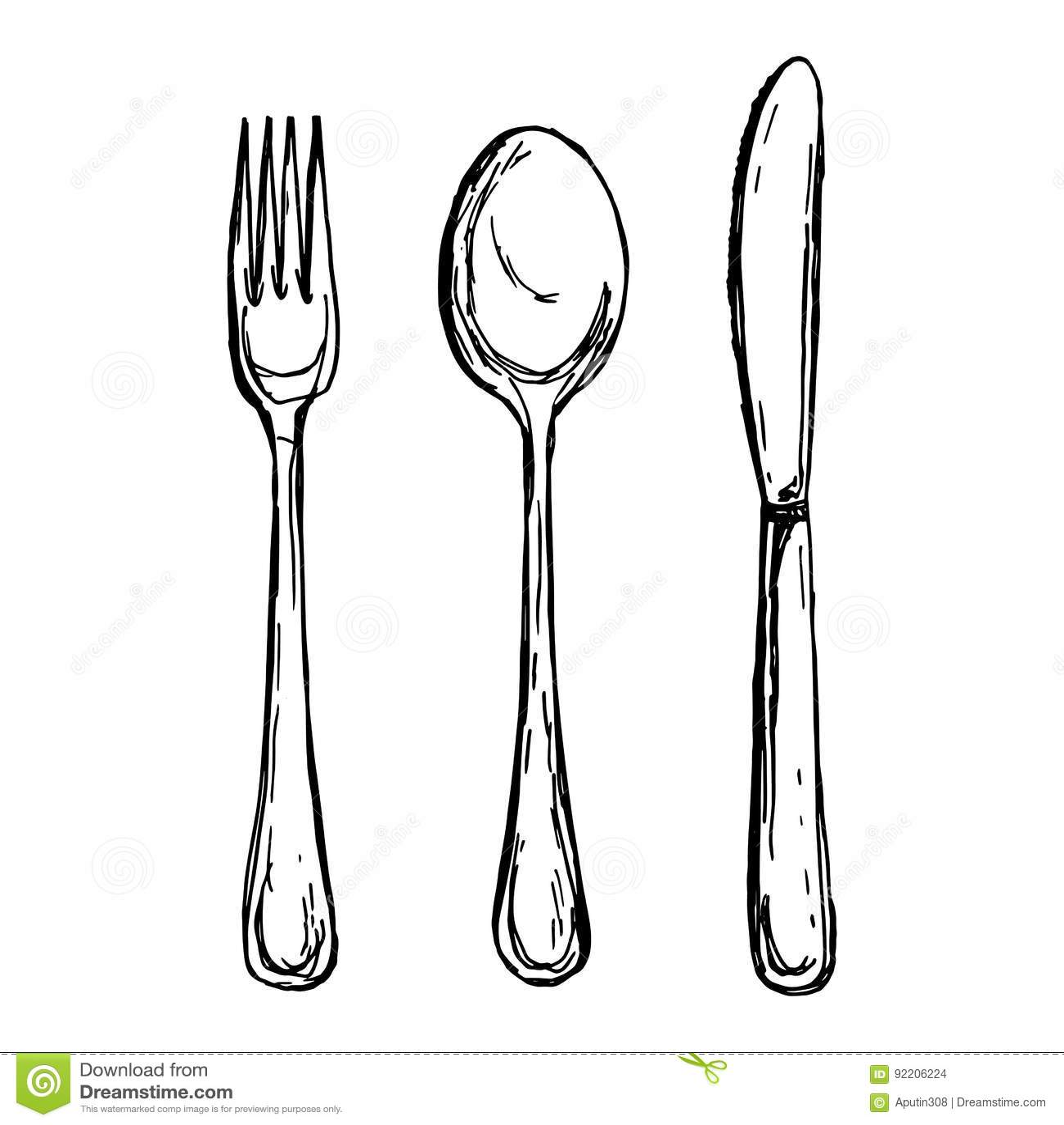 Spoon Fork And Knife Sketch Vector Illustration
