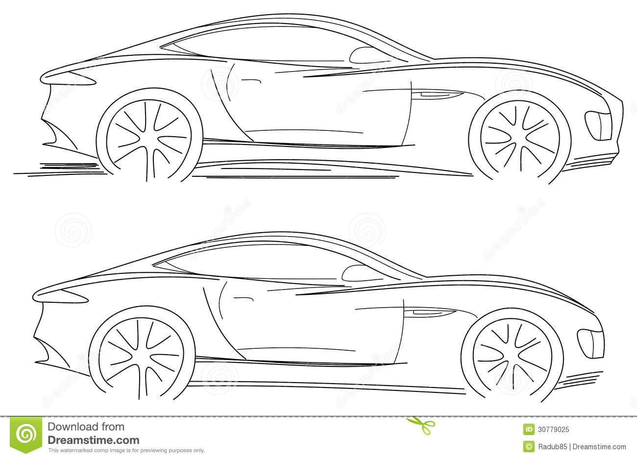 Sport Car Sketch Stock Vector Illustration Of Isolated