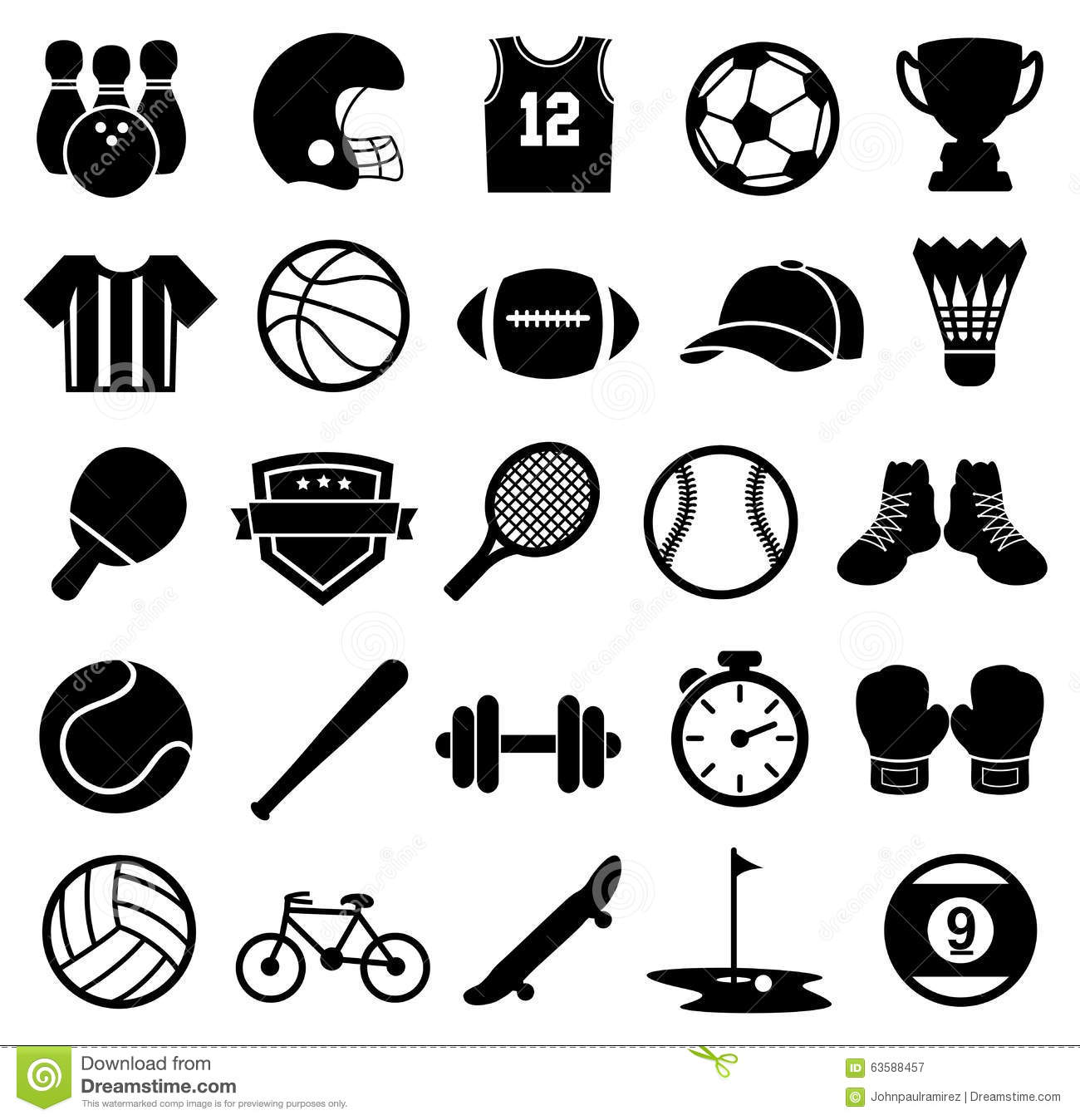 Sport Icons Silhouette Sports And Fitness Stock Vector