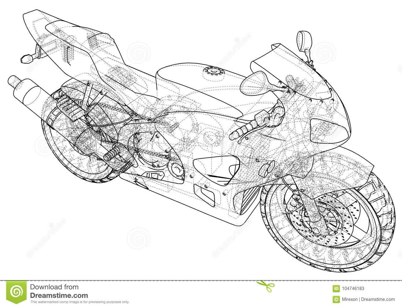 Sport Motorcycle Technical Wire Frame Vector Illustration