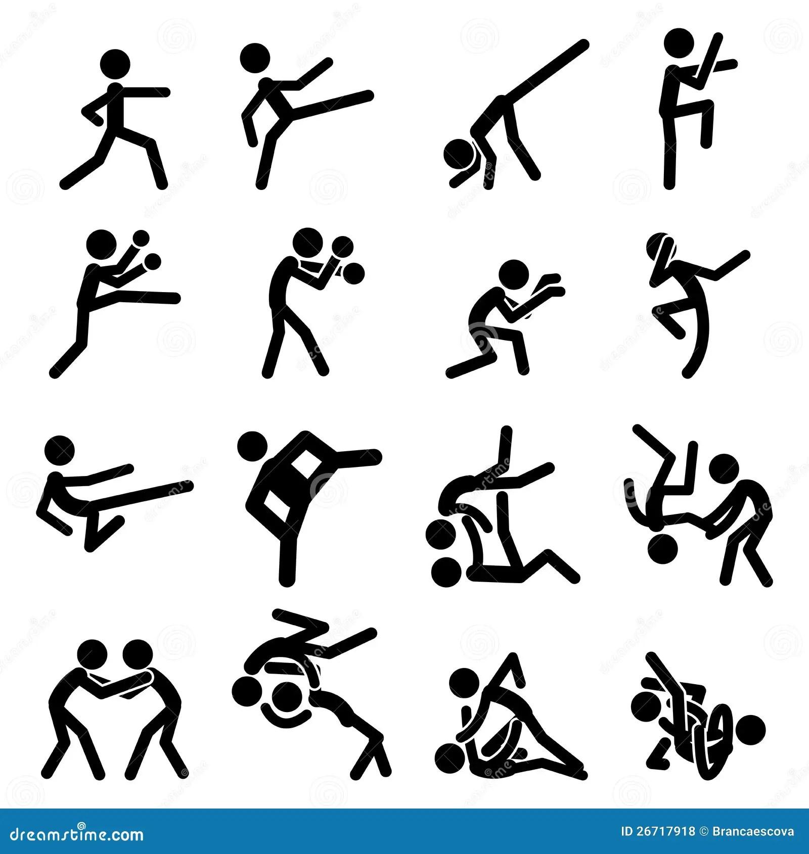 Sport Pictogram Icon Set 03 Martial Arts Royalty Free