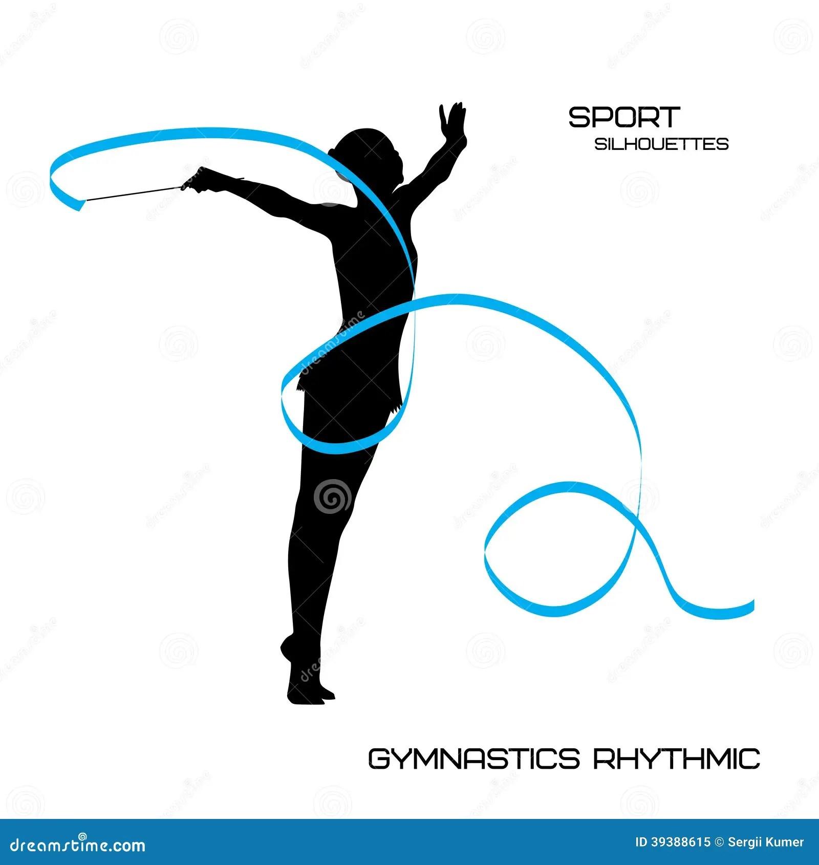 Sport Silhouettes Gymnastics Rhythmic Girl With Ribbon