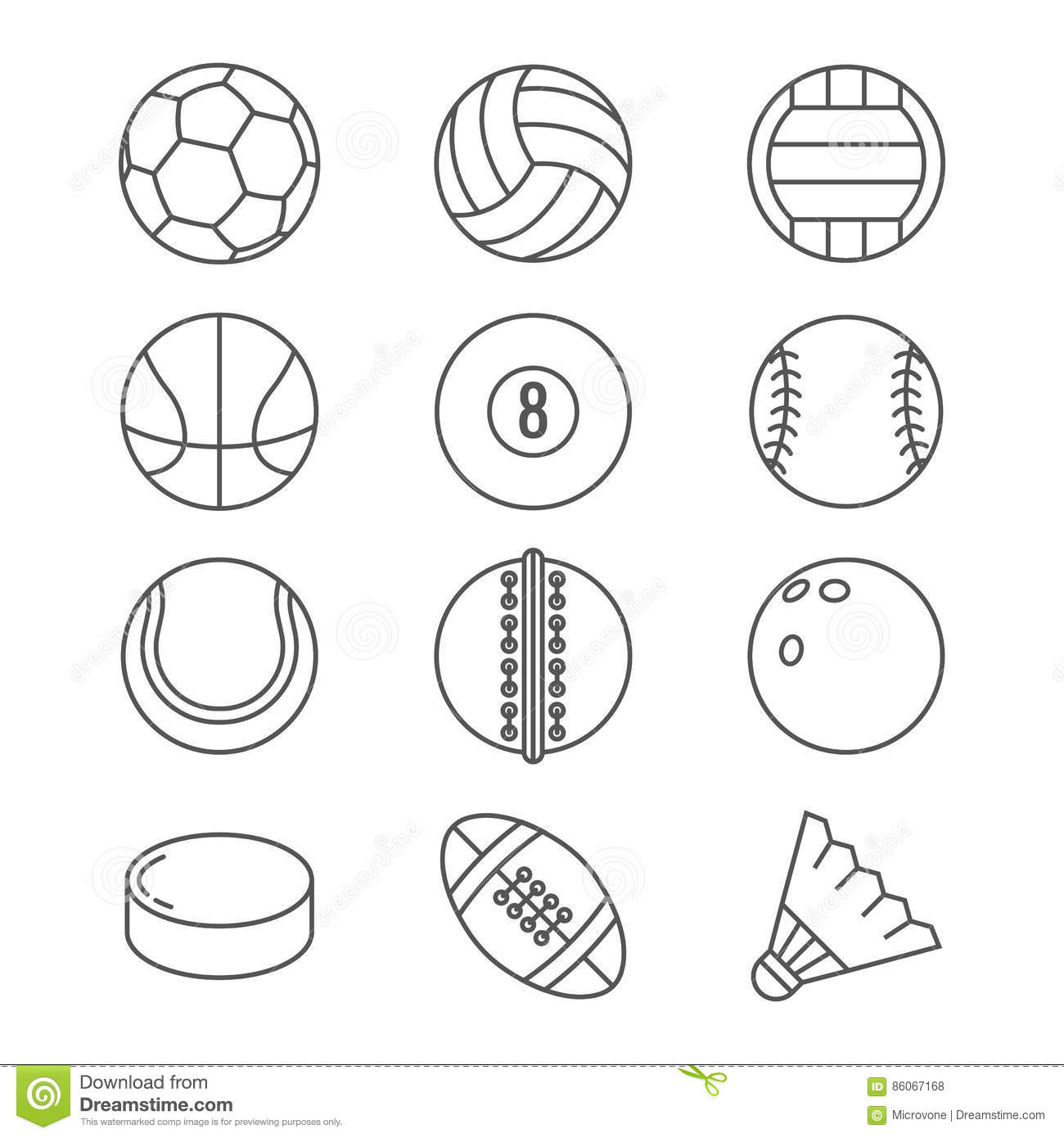 Thin Line Volleyball Ball Sketch Sketch Coloring Page