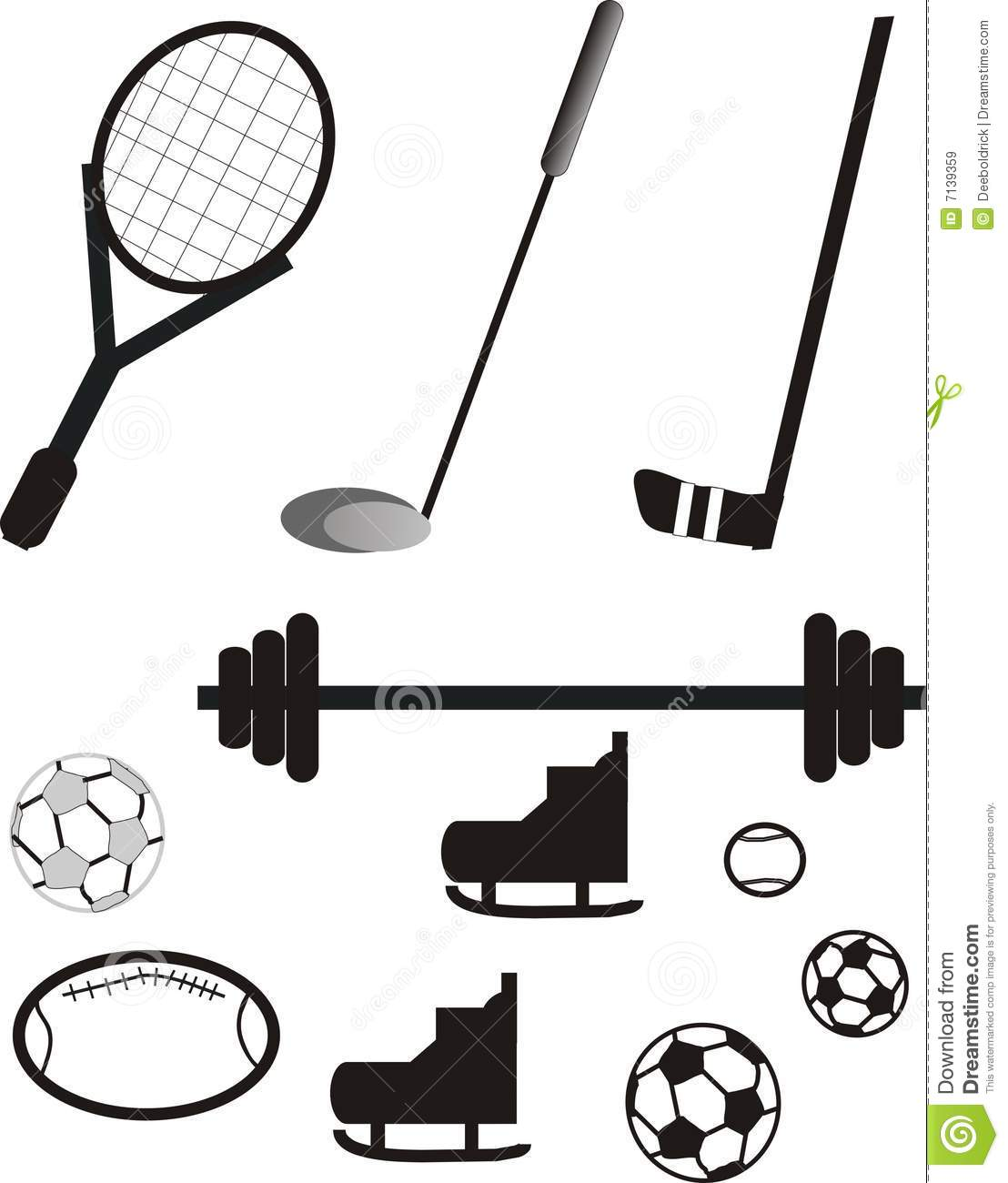 Sports Equipment Pictogram Royalty Free Stock Images
