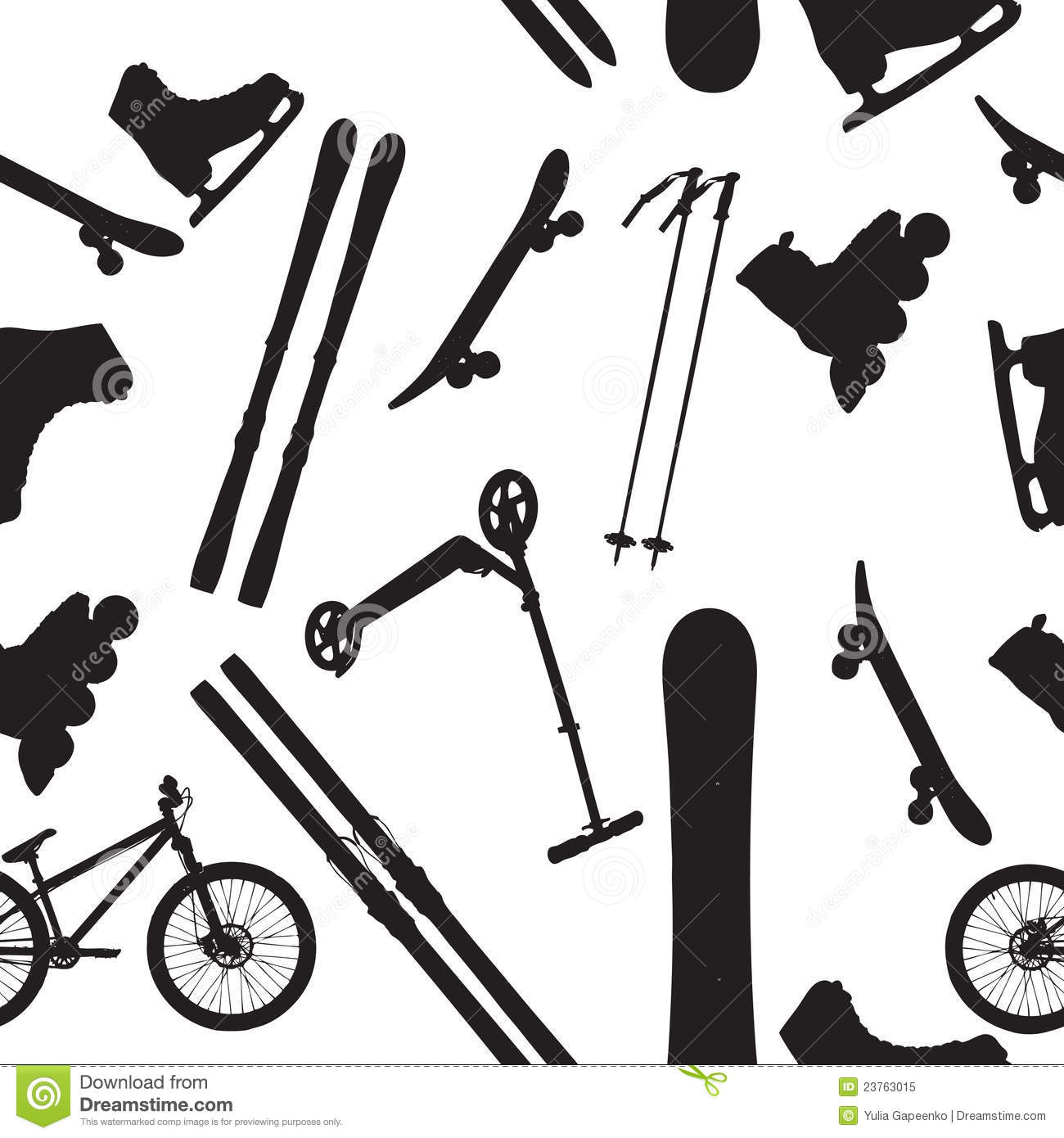 Sports Equipment Silhouette Royalty Free Stock Photo