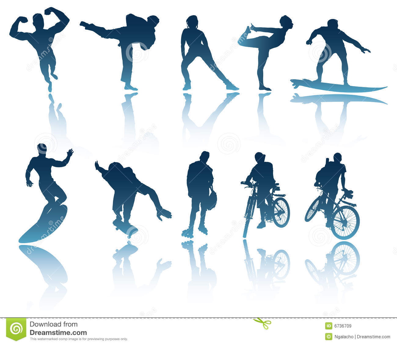 Sports Amp Fitness Silhouettes Stock Vector