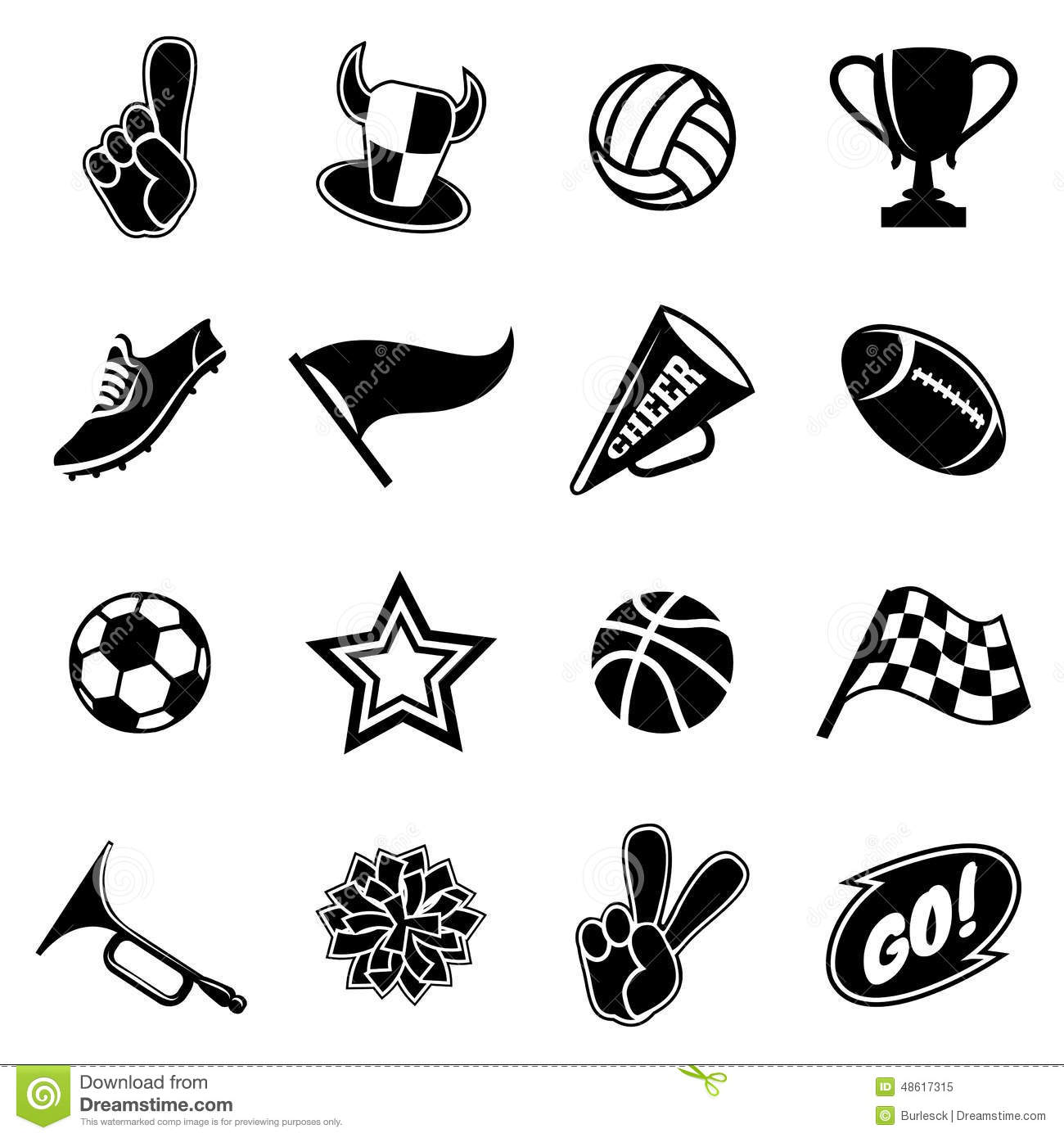 Sports Icons And Fans Equipment Stock Photo