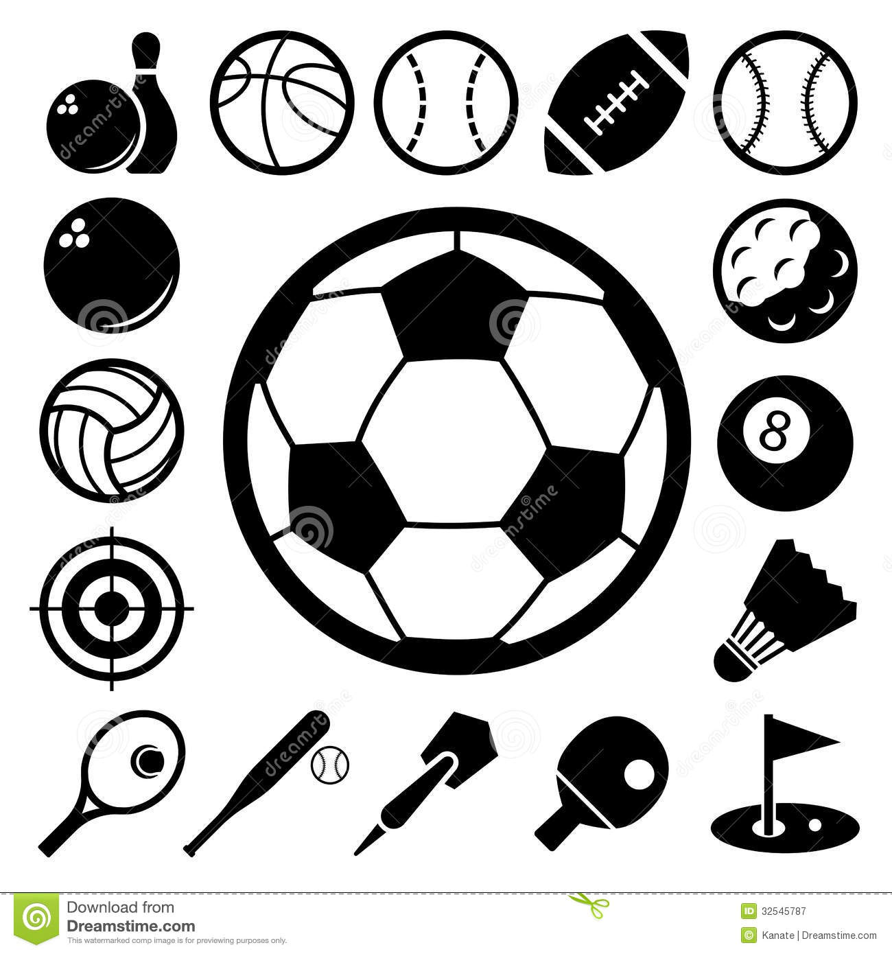 Sports Icons Set Stock Vector Illustration Of American