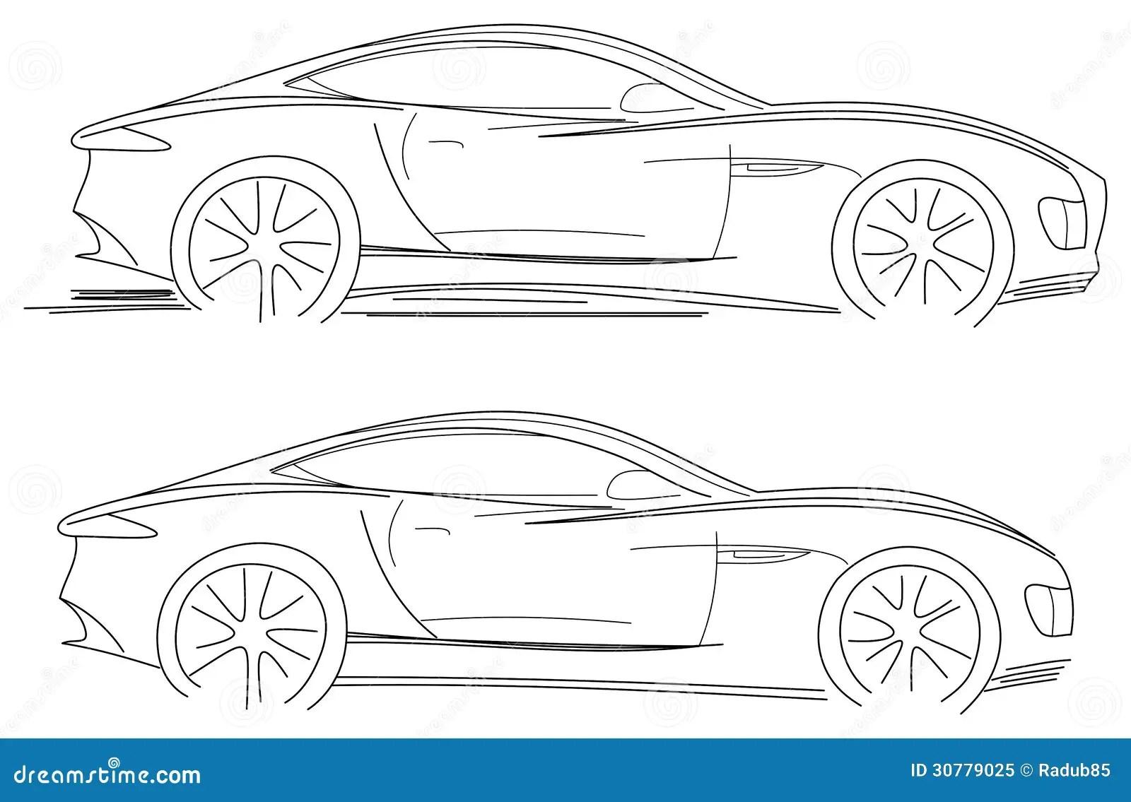Sportwagen Skizze Vektor Abbildung Illustration Von