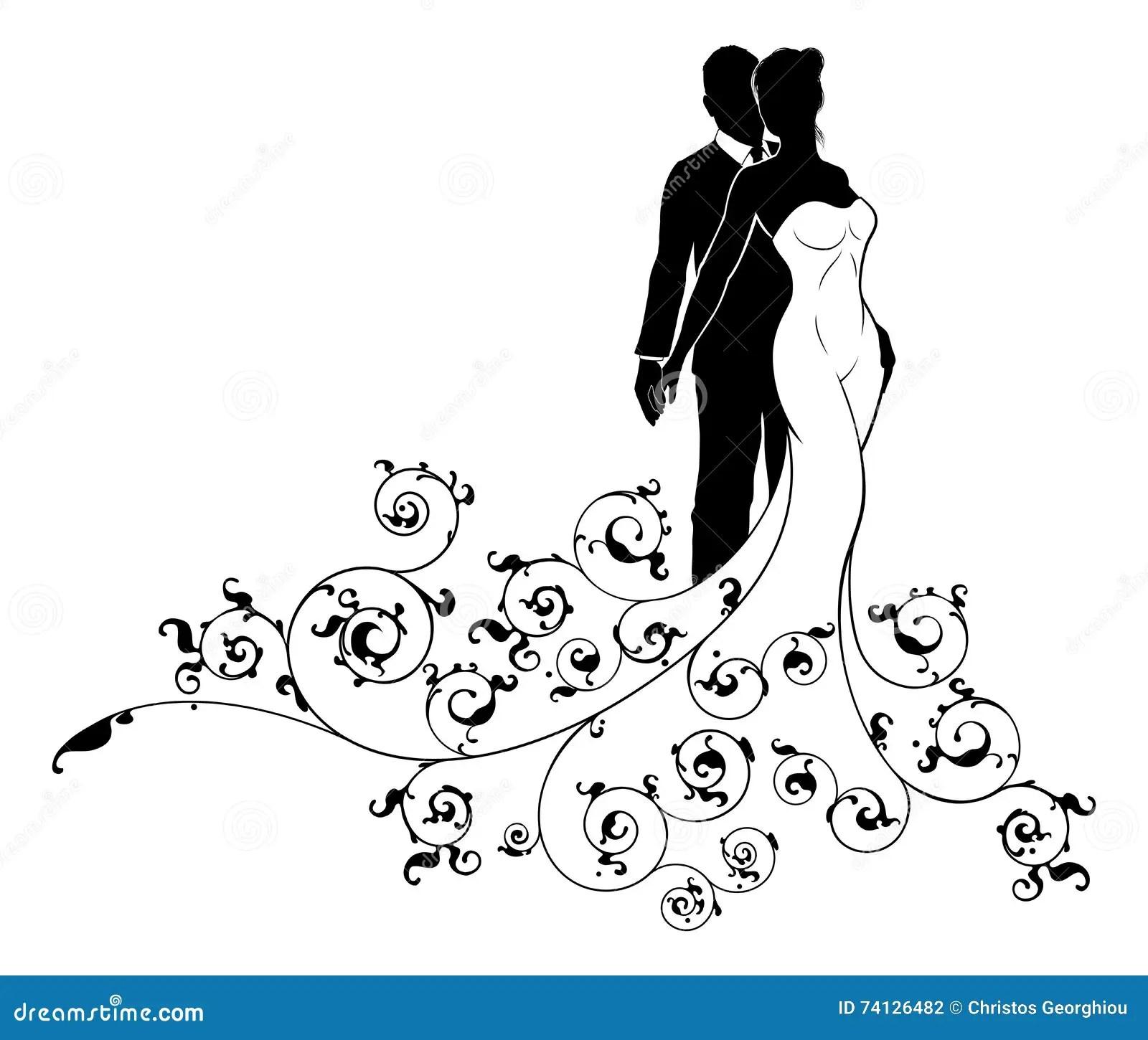 Sposa Del Modello Di Nozze E Sposo Astratti Silhouette