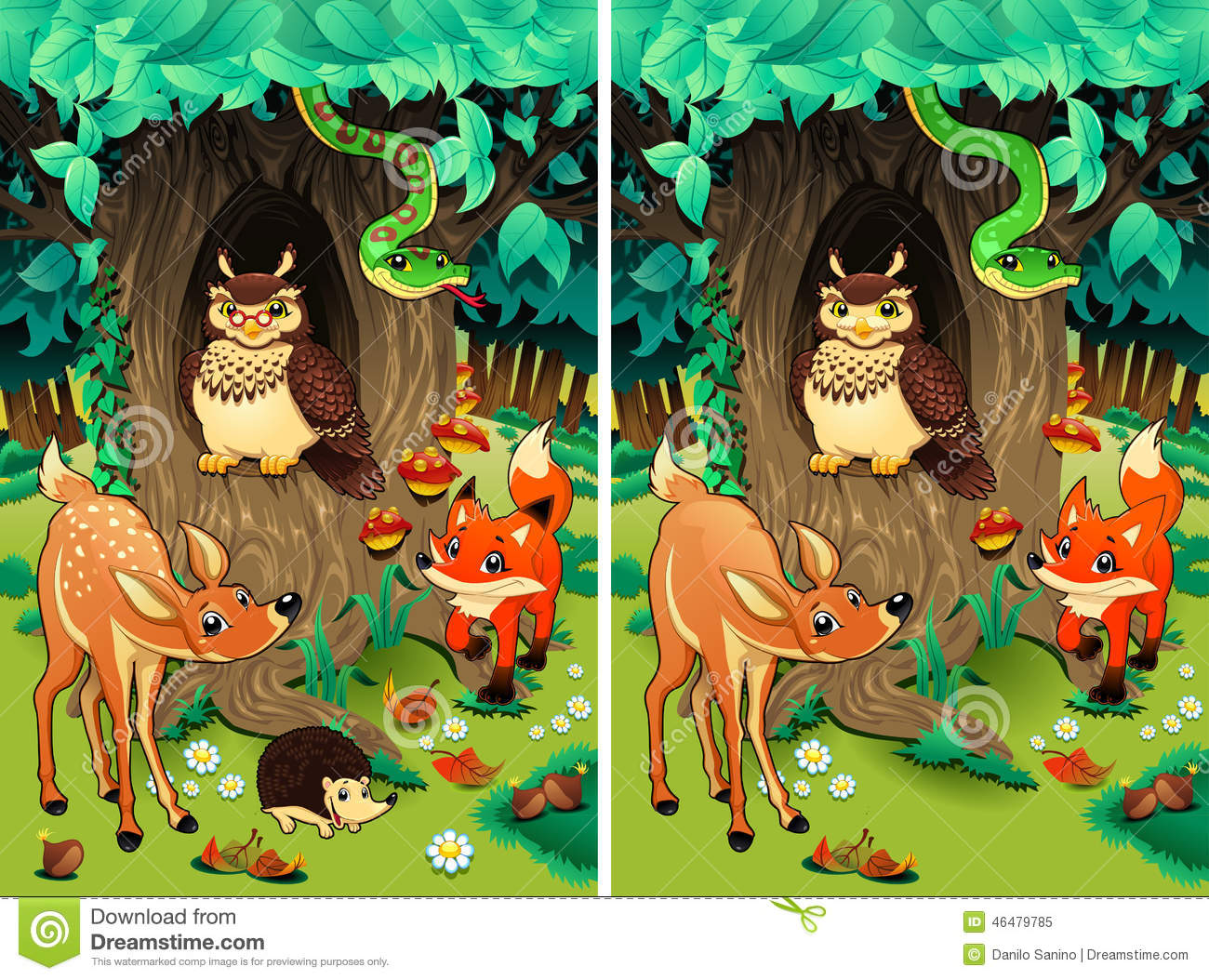 Spot The Differences Stock Vector Illustration Of Snake