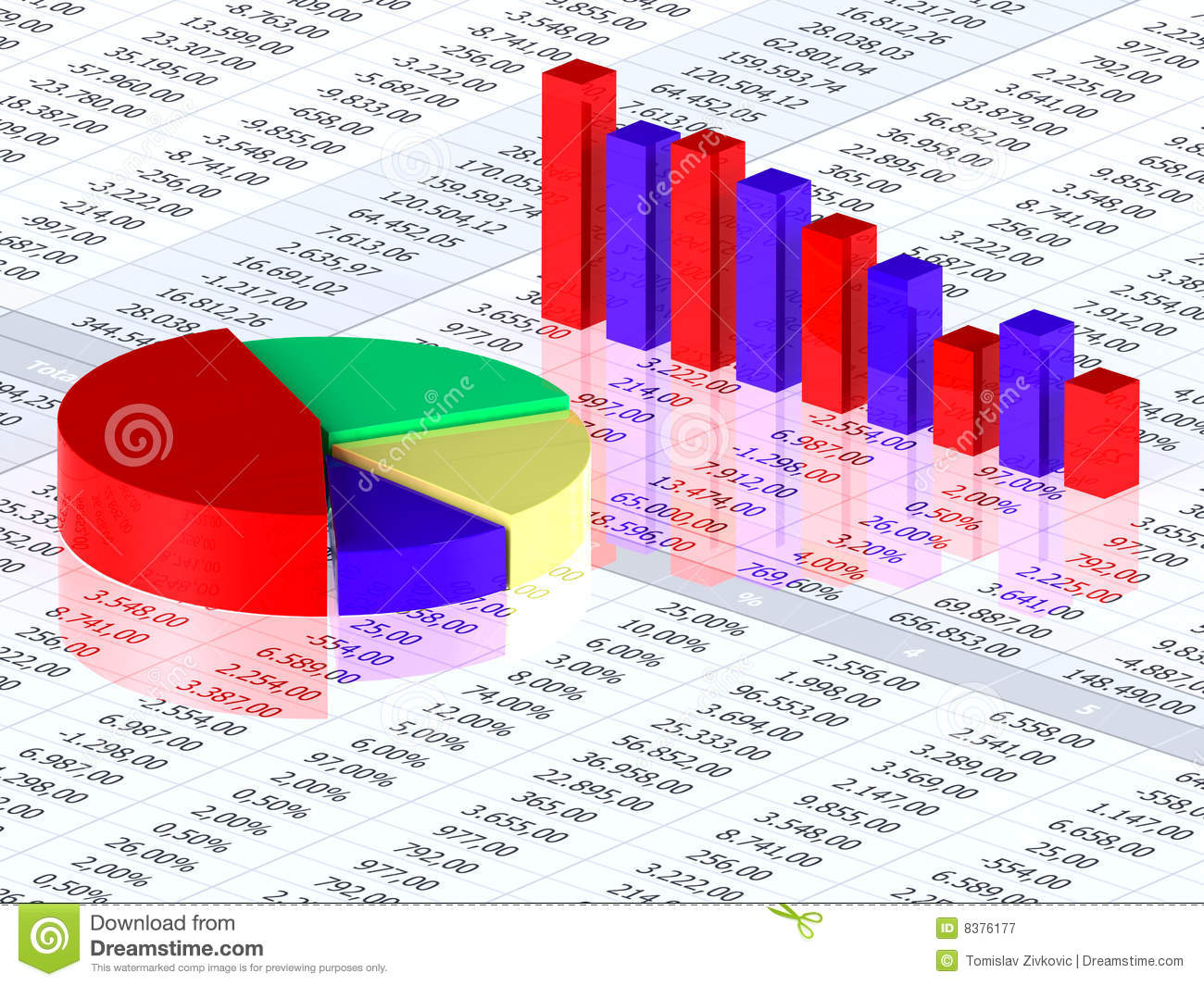 Spreadsheet With Colorful Graph Stock Illustration