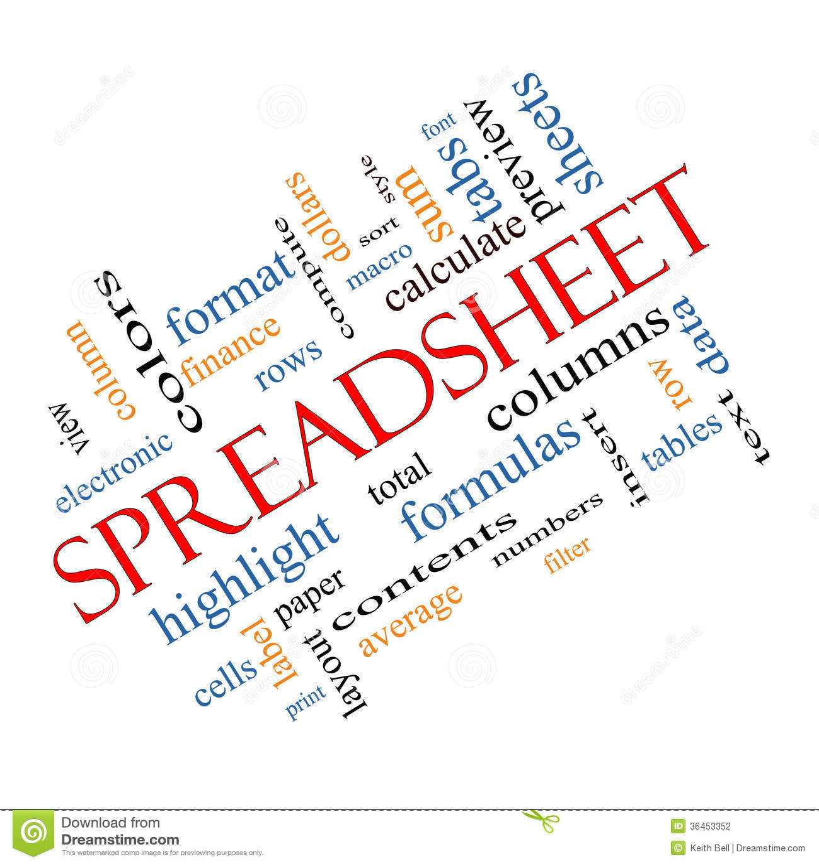 Spreadsheet Word Cloud Glowing Royalty Free Illustration