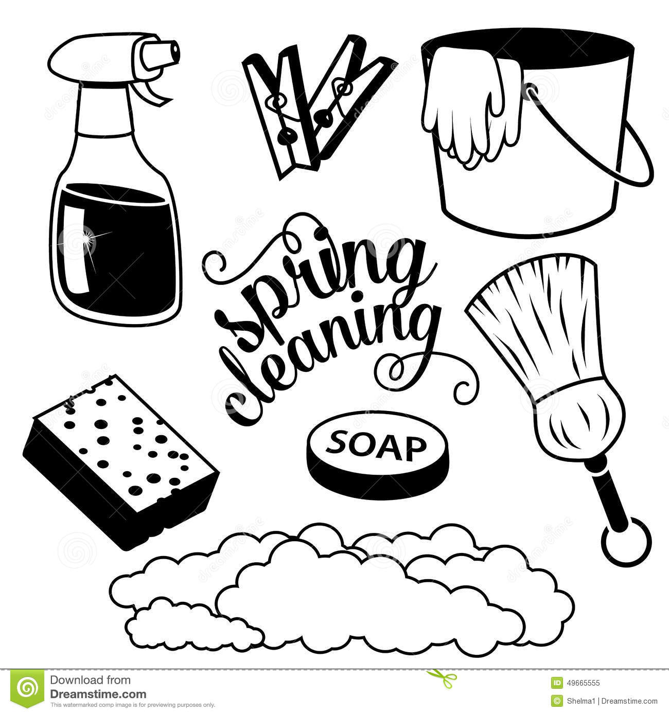 Spring Cleaning Items In Black And White Stock Vector