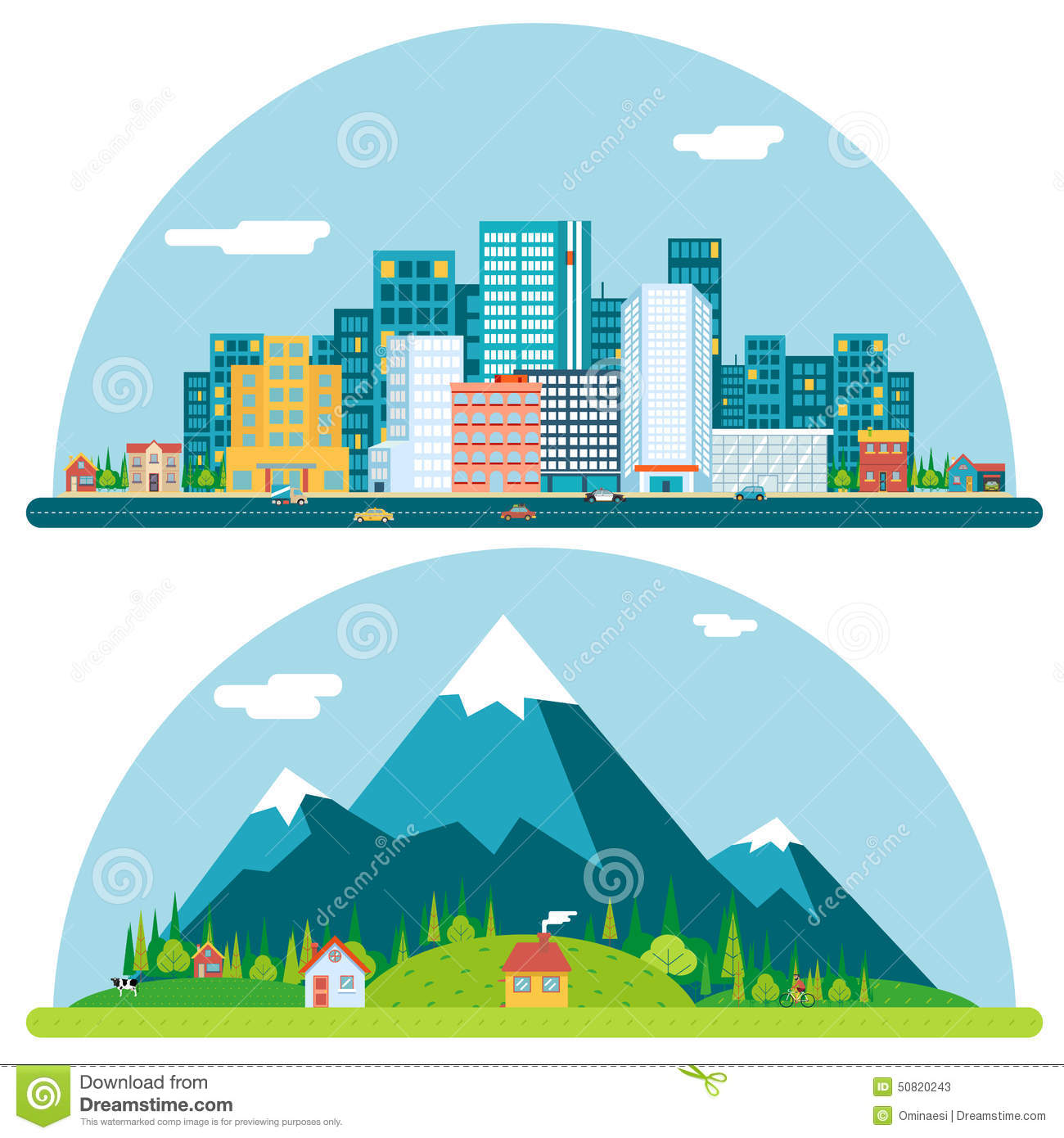 Spring Urban And Countryside Landscape City Stock Vector