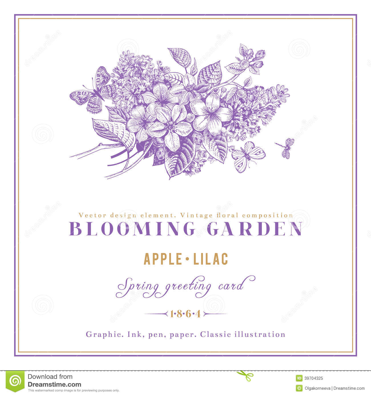 Spring Vintage Vector Card Stock Vector Image Of