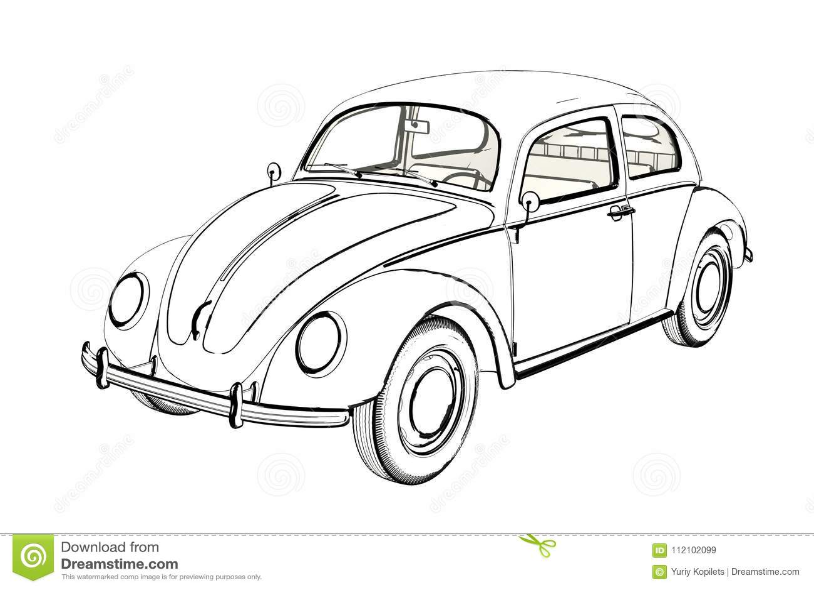 Sprot Car Wolksvagen Beetle Sketch 3d Illustration Stock
