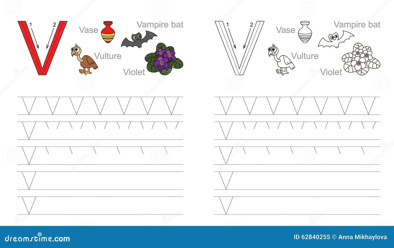 Spurarbeitsblatt Fur Buchstaben V Vektor Abbildung