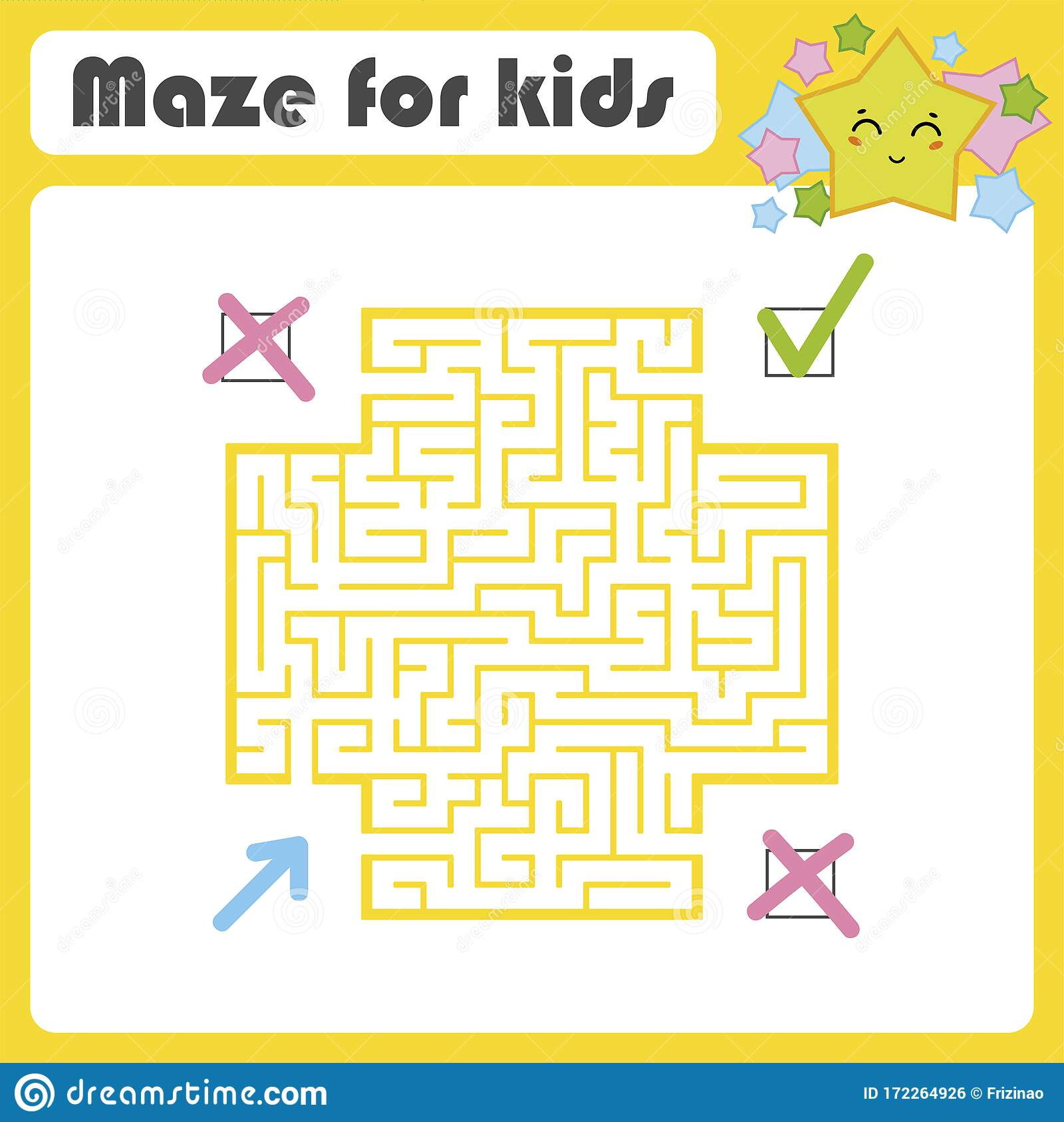 Square Color Maze Kids Worksheets Activity Page Game