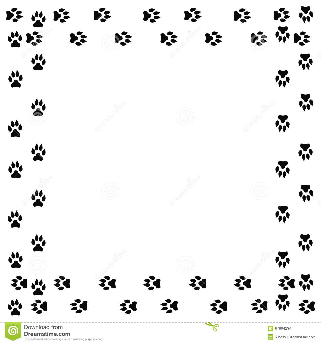 Square Frame With Black Dog Track Isolated On White