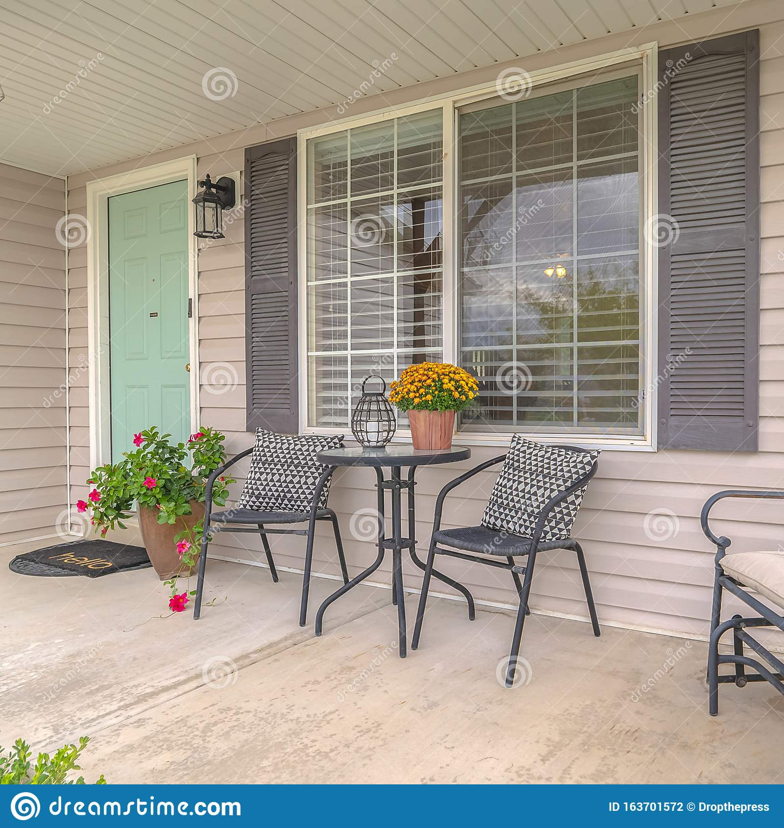 https www dreamstime com square frame front porch modern home outdoor furniture suburban image163701572