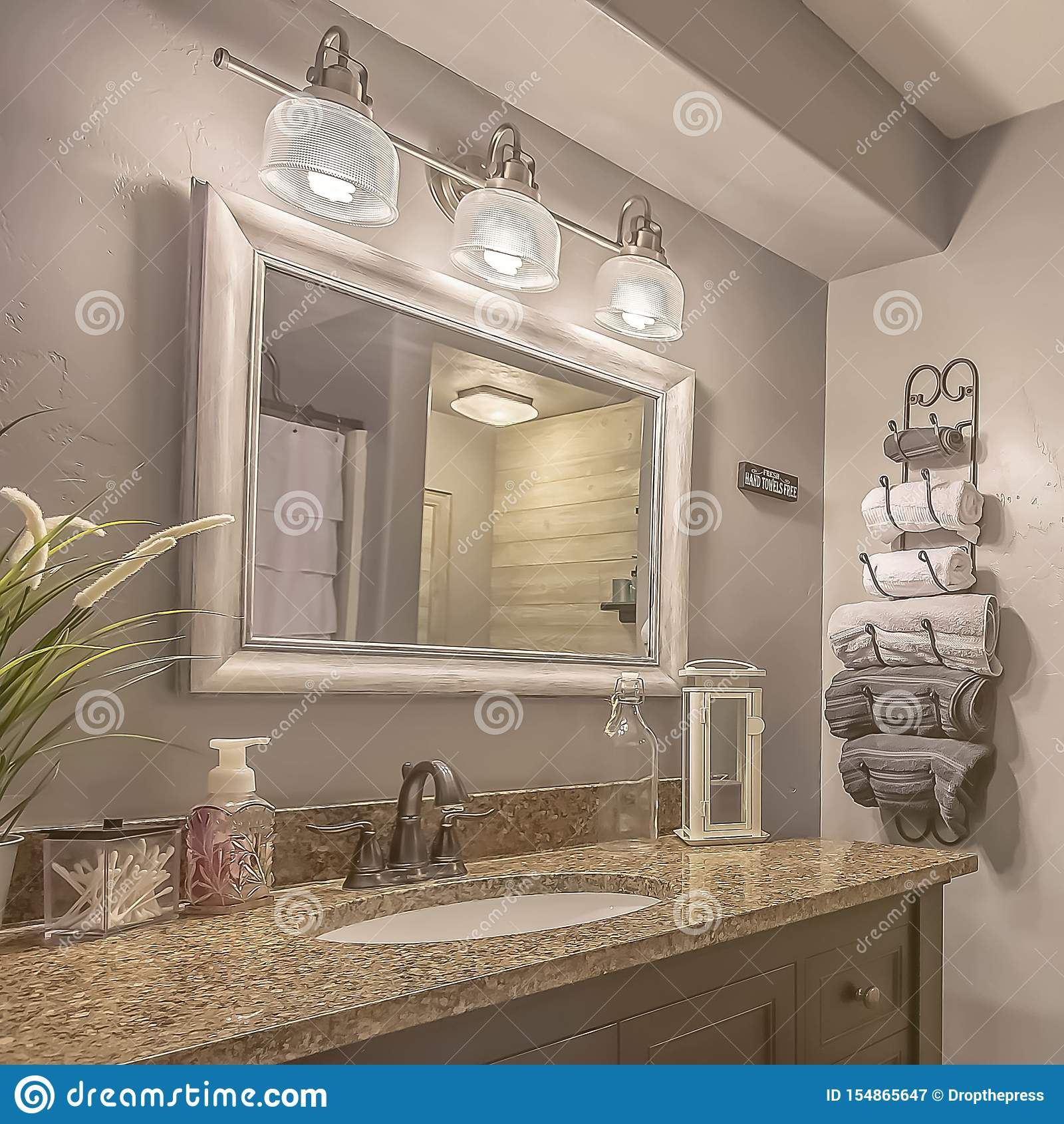https www dreamstime com square frame mirror lamps above vanity inside bathroom towel rack shelves white curtain conceals bathtub shower image154865647